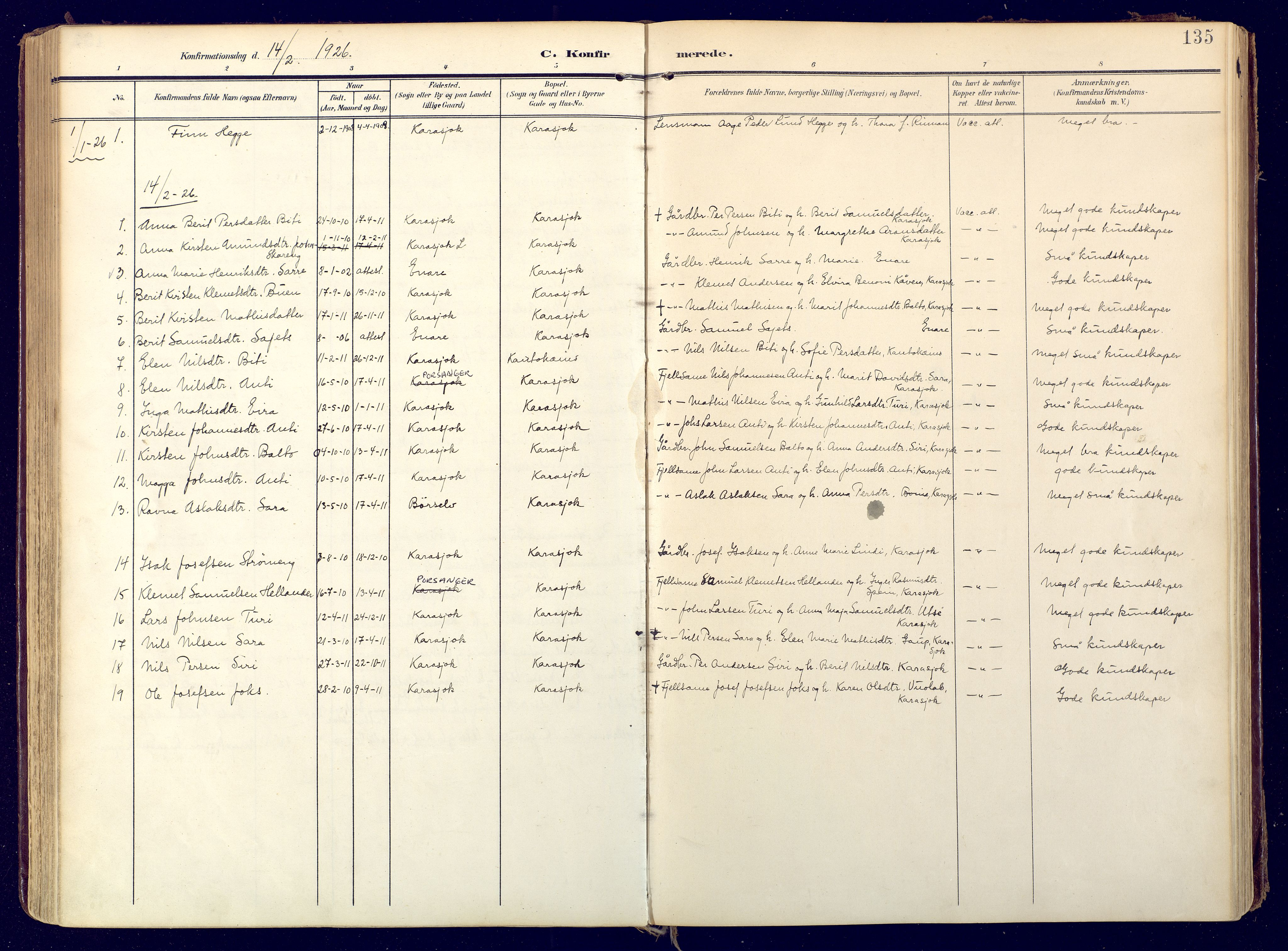 SATØ, Karasjok sokneprestkontor, H/Ha: Ministerialbok nr. 3, 1907-1926, s. 135