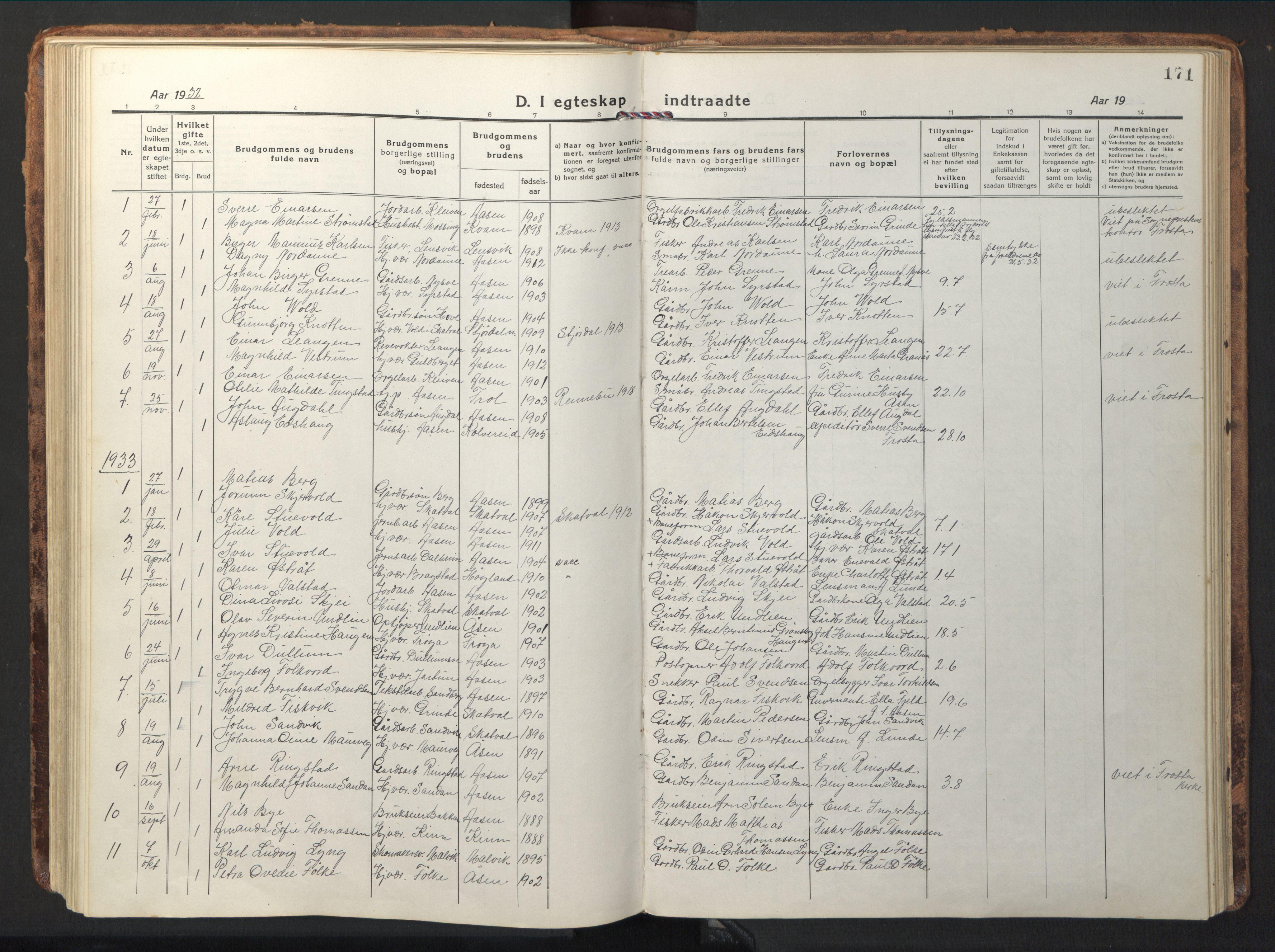 SAT, Ministerialprotokoller, klokkerbøker og fødselsregistre - Nord-Trøndelag, 714/L0136: Klokkerbok nr. 714C05, 1918-1957, s. 171