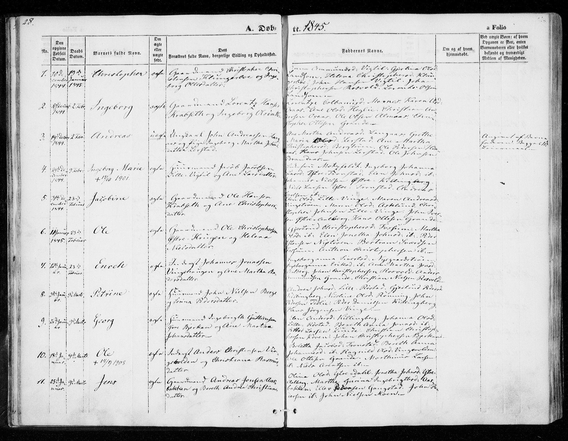 SAT, Ministerialprotokoller, klokkerbøker og fødselsregistre - Nord-Trøndelag, 701/L0007: Ministerialbok nr. 701A07 /1, 1842-1854, s. 28