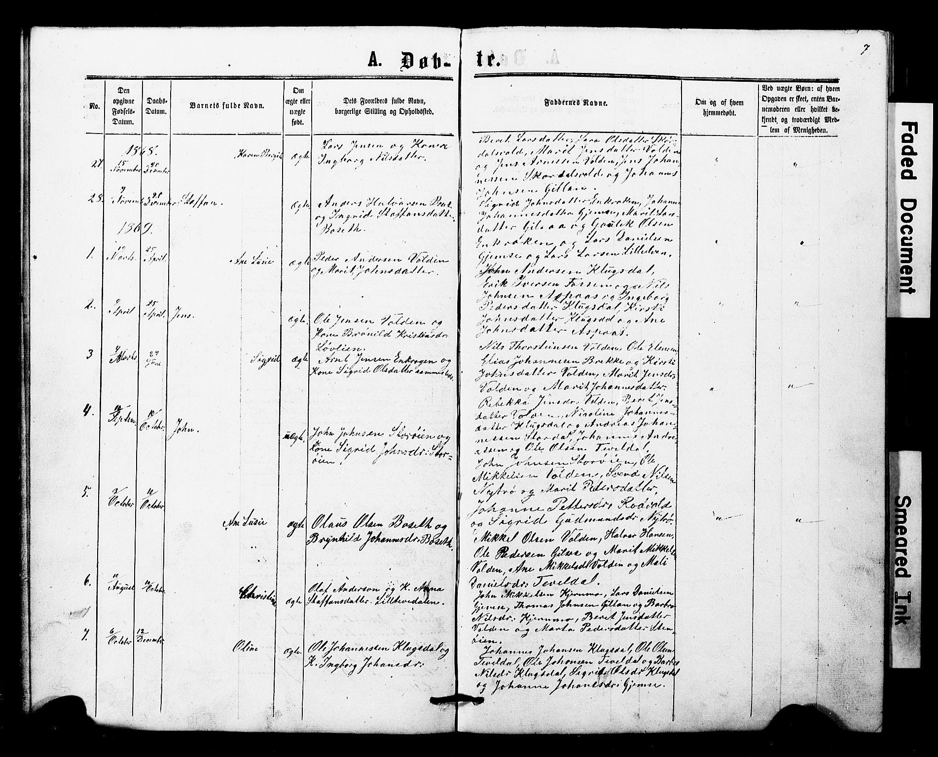 SAT, Ministerialprotokoller, klokkerbøker og fødselsregistre - Nord-Trøndelag, 707/L0052: Klokkerbok nr. 707C01, 1864-1897, s. 7