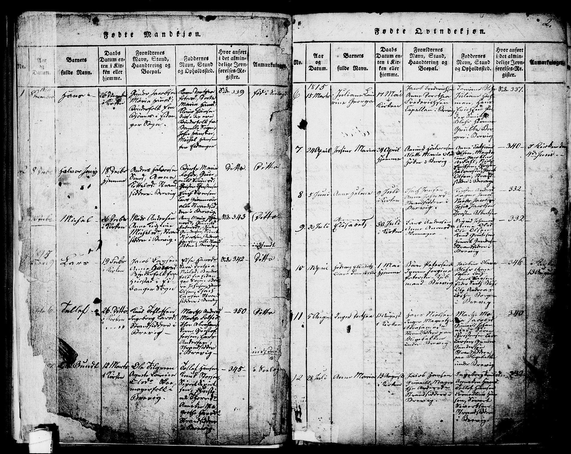 SAKO, Brevik kirkebøker, G/Ga/L0001: Klokkerbok nr. 1, 1814-1845, s. 2