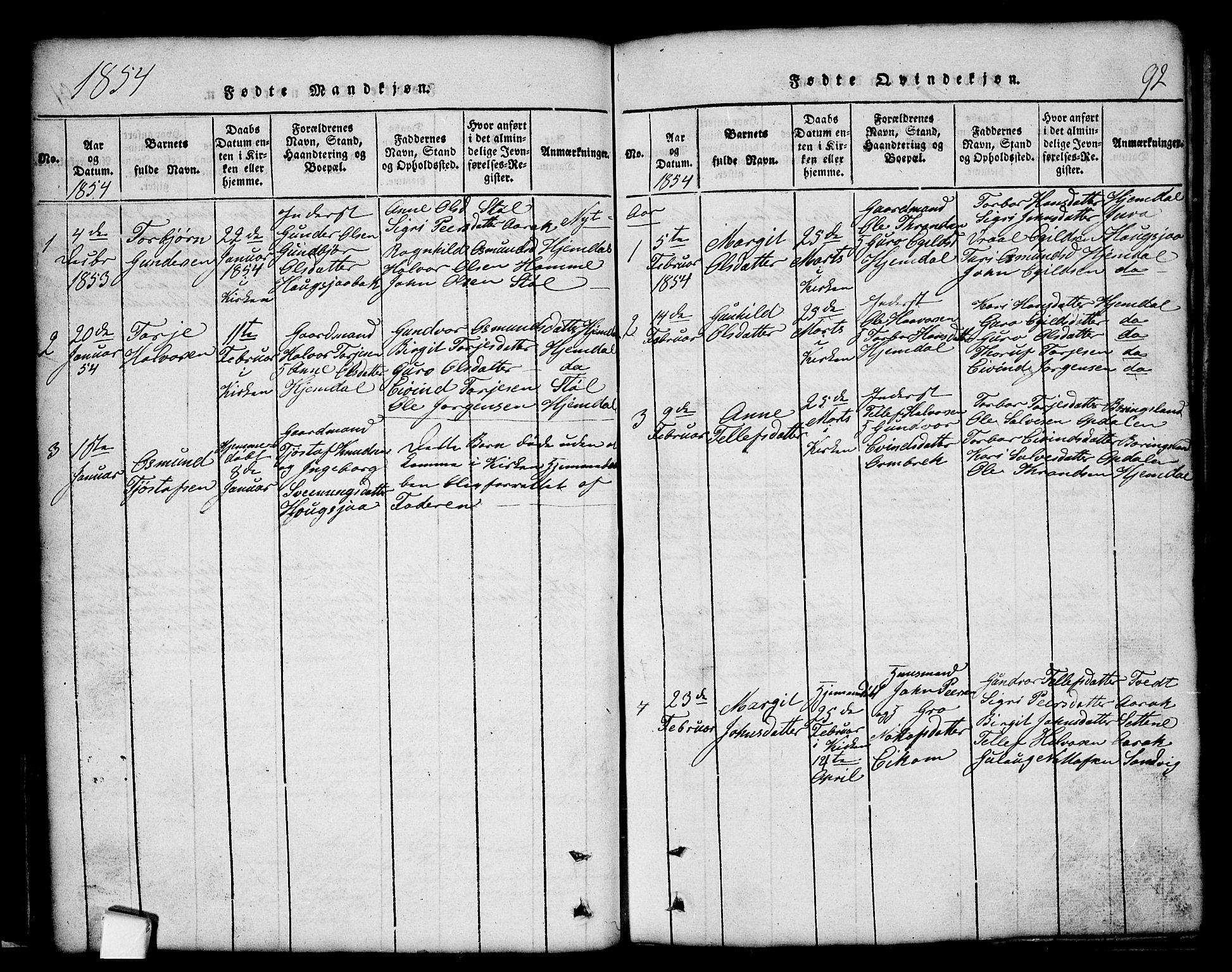 SAKO, Nissedal kirkebøker, G/Gb/L0001: Klokkerbok nr. II 1, 1814-1862, s. 92