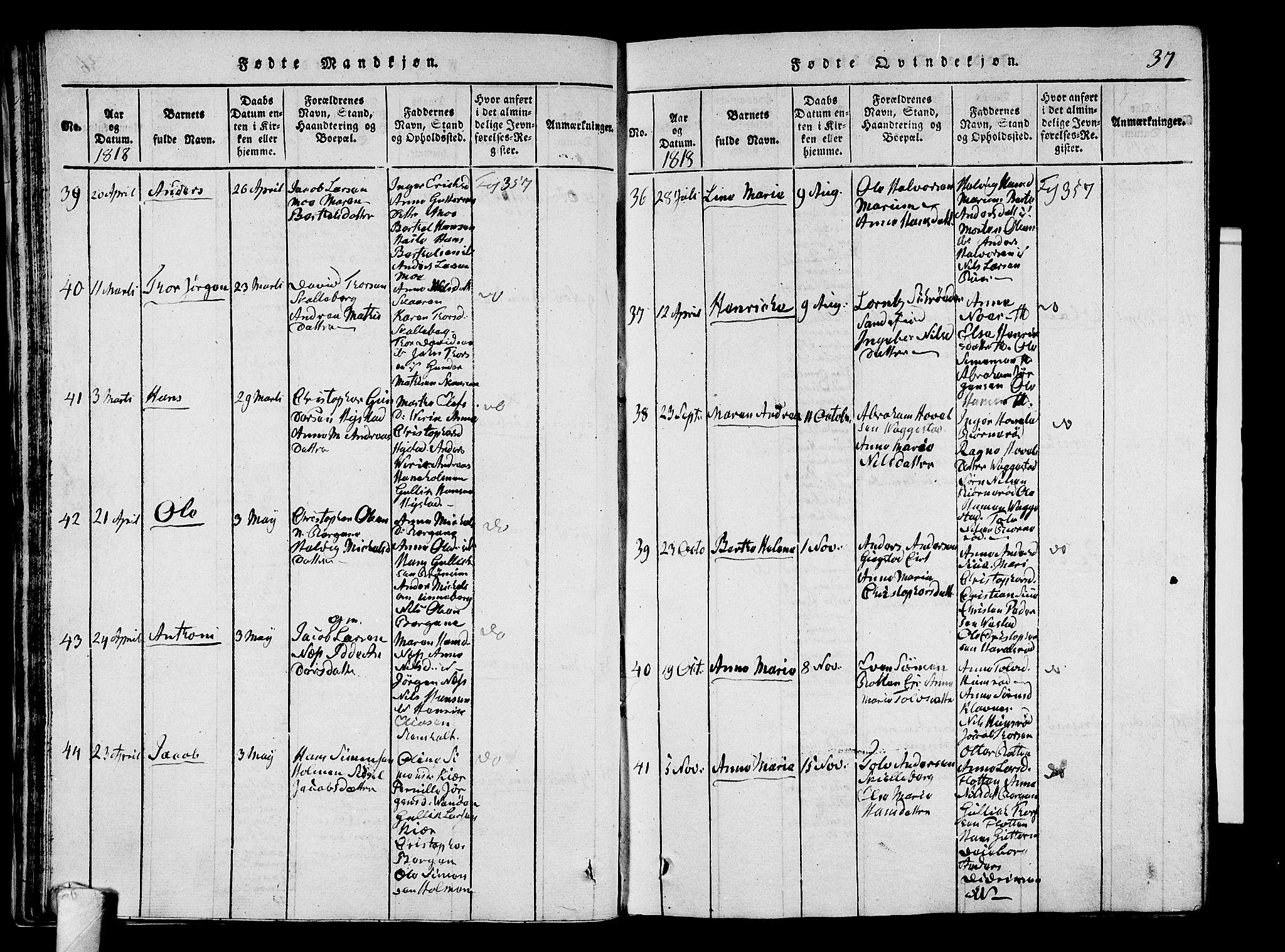 SAKO, Sandar kirkebøker, G/Ga/L0001: Klokkerbok nr. 1, 1814-1835, s. 37