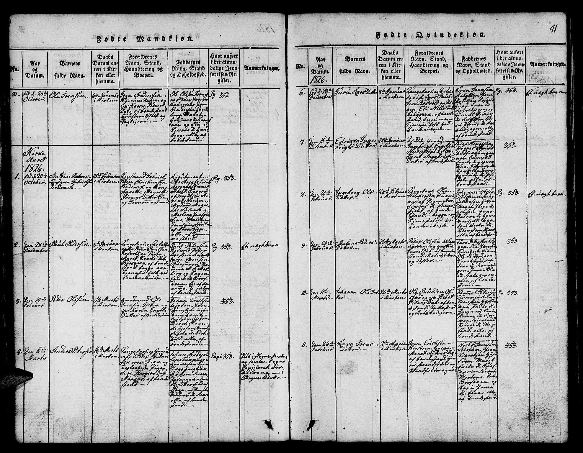 SAT, Ministerialprotokoller, klokkerbøker og fødselsregistre - Sør-Trøndelag, 665/L0776: Klokkerbok nr. 665C01, 1817-1837, s. 41