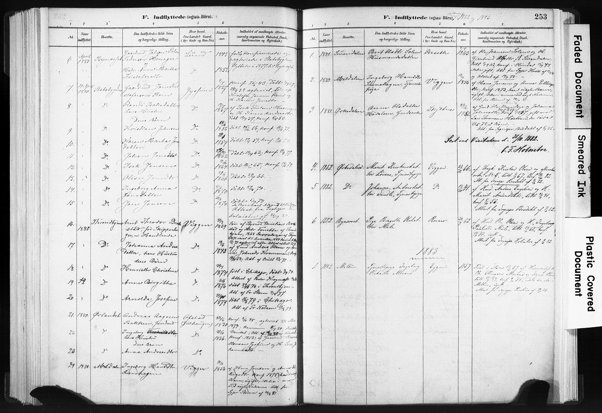 SAT, Ministerialprotokoller, klokkerbøker og fødselsregistre - Sør-Trøndelag, 665/L0773: Ministerialbok nr. 665A08, 1879-1905, s. 253