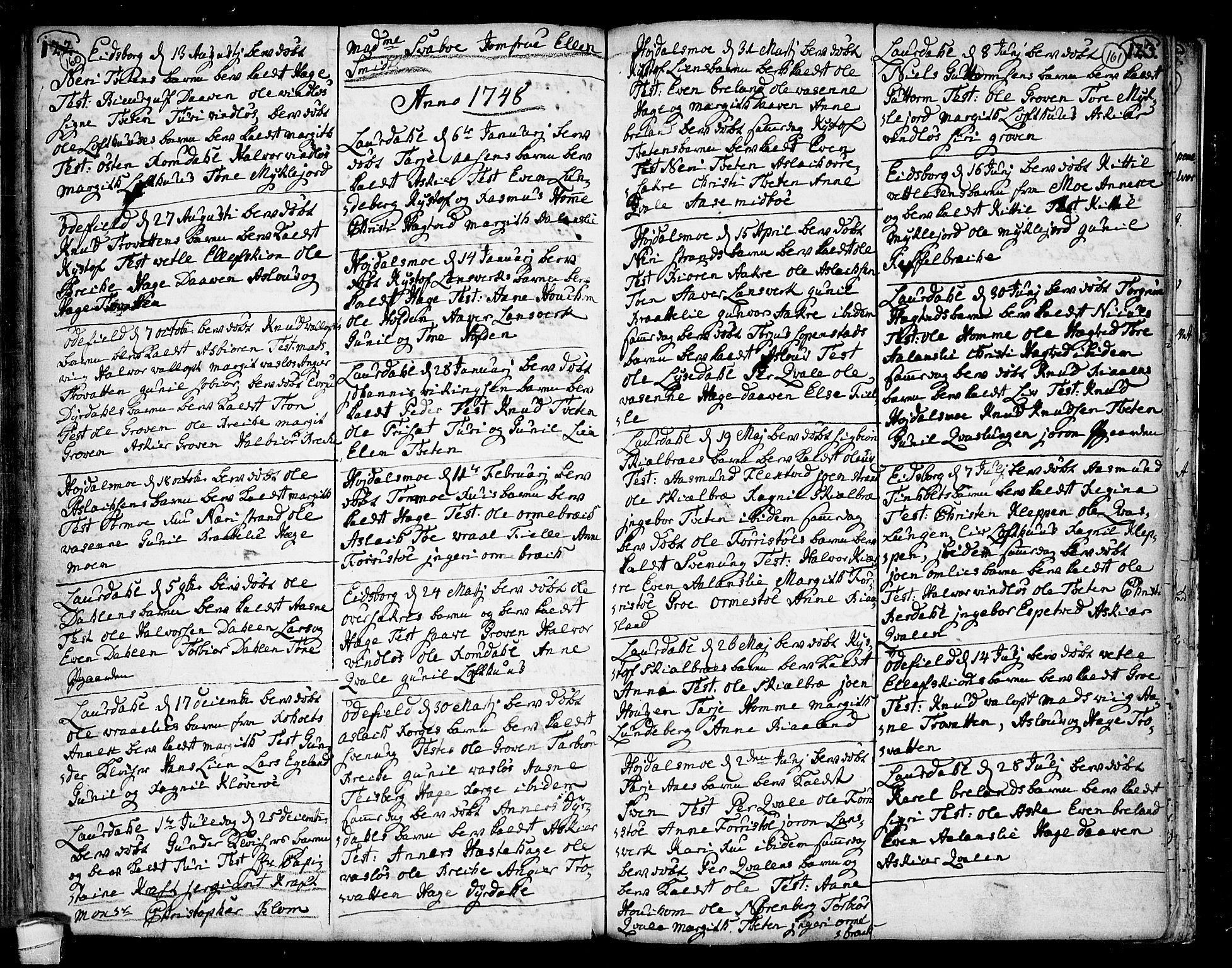 SAKO, Lårdal kirkebøker, F/Fa/L0002: Ministerialbok nr. I 2, 1734-1754, s. 160-161