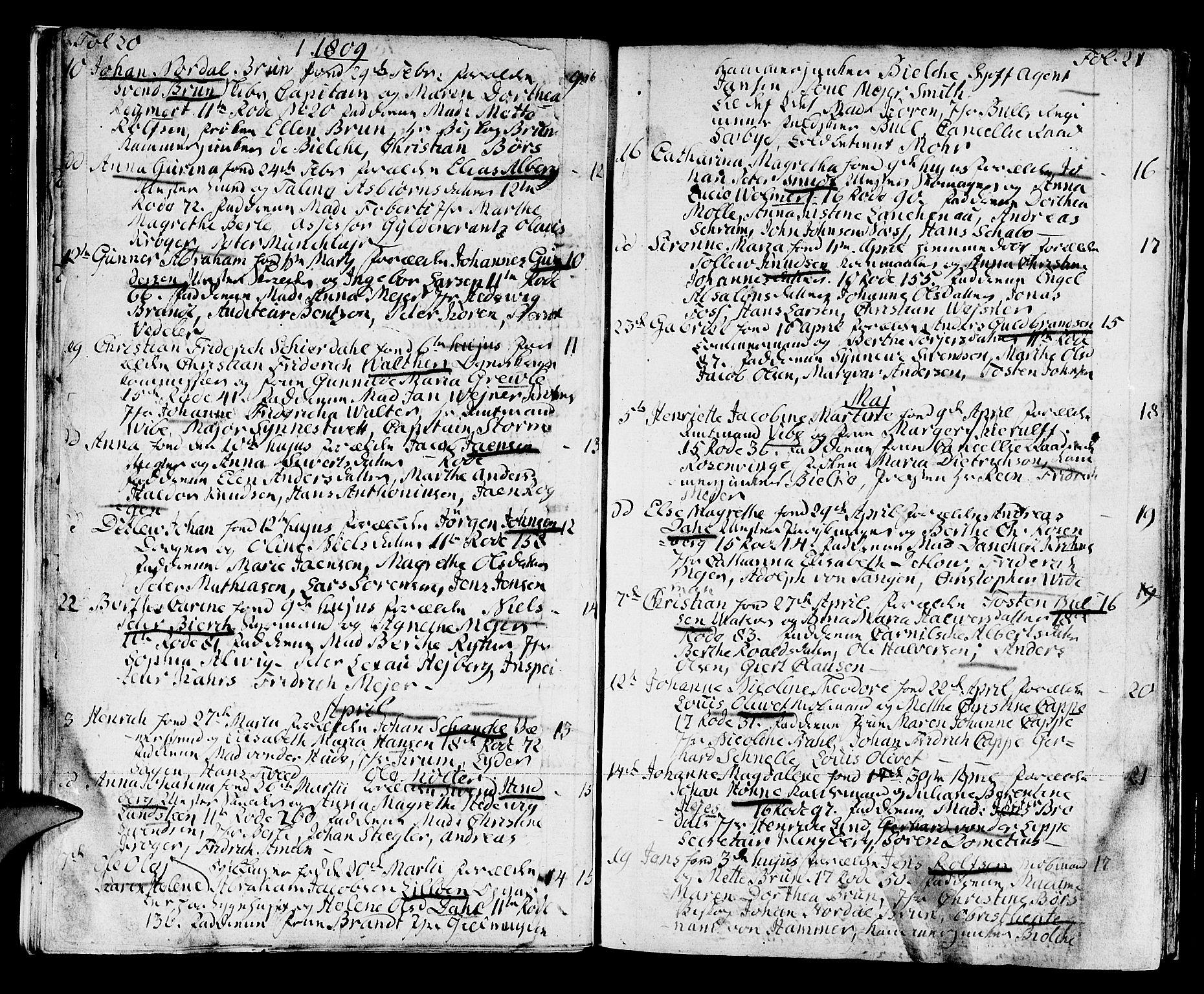 SAB, Domkirken Sokneprestembete, H/Haa/L0005: Ministerialbok nr. A 5, 1808-1820, s. 20-21