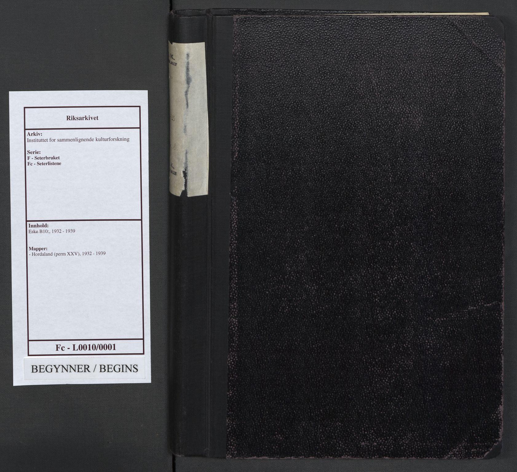 RA, Instituttet for sammenlignende kulturforskning, F/Fc/L0010: Eske B10:, 1932-1939, s. upaginert