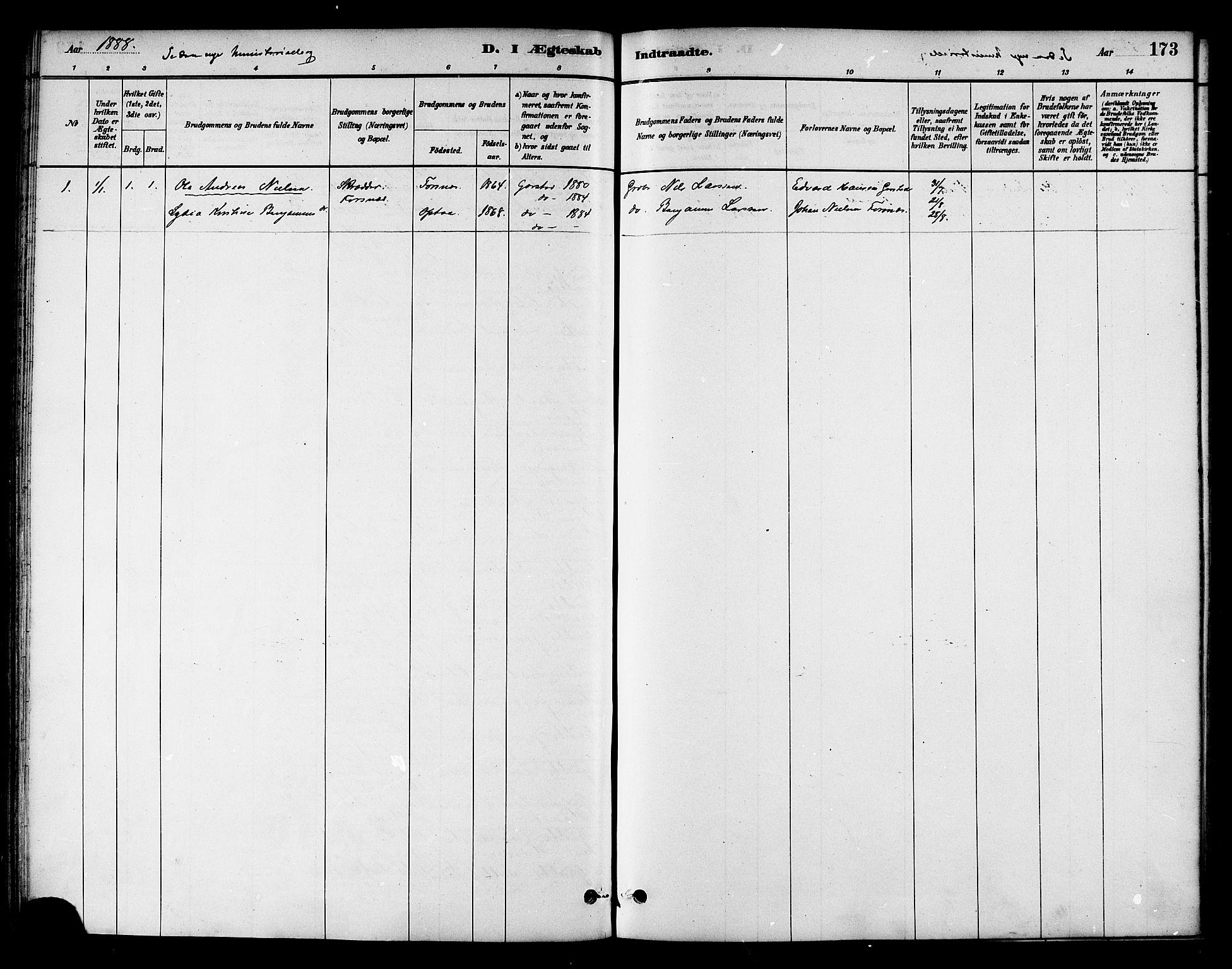 SAT, Ministerialprotokoller, klokkerbøker og fødselsregistre - Nord-Trøndelag, 786/L0686: Ministerialbok nr. 786A02, 1880-1887, s. 173