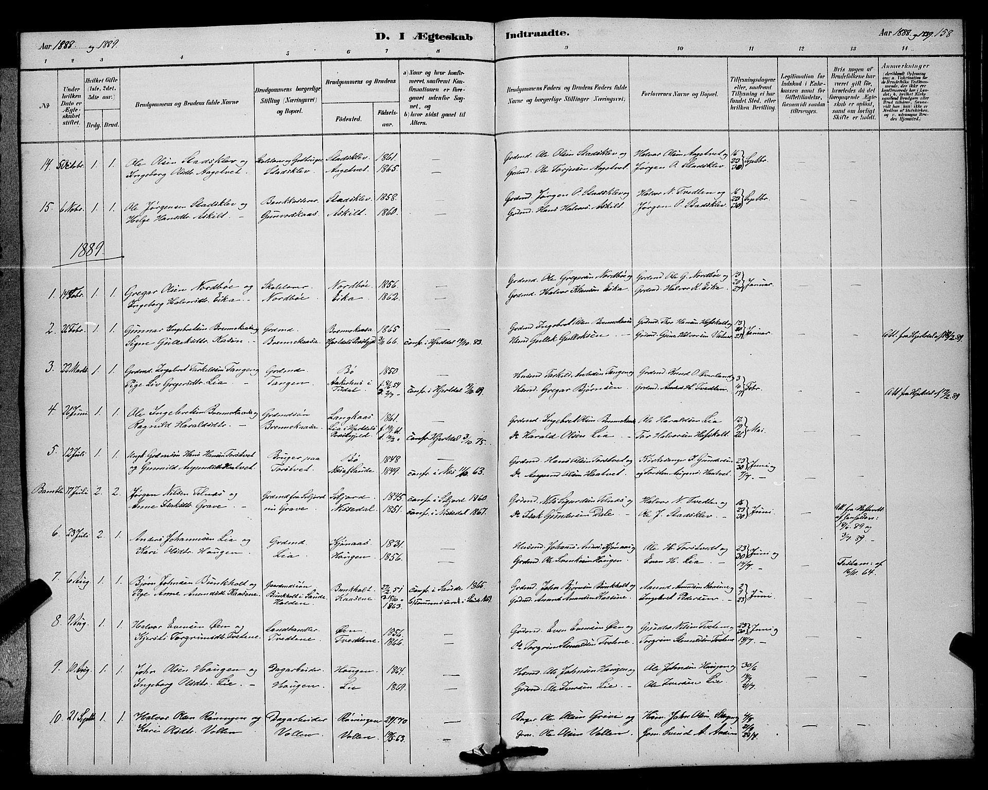 SAKO, Bø kirkebøker, G/Ga/L0005: Klokkerbok nr. 5, 1883-1897, s. 158