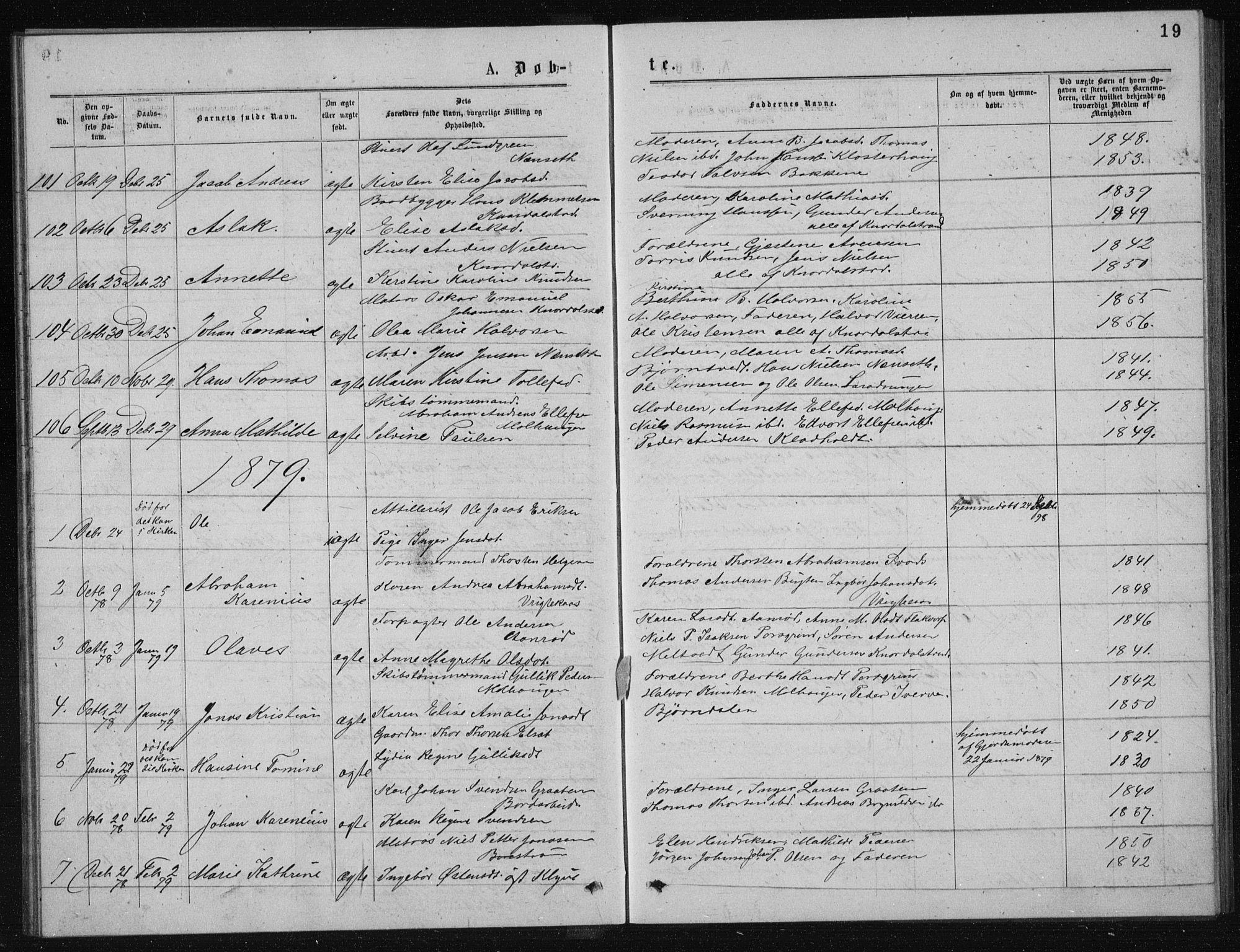SAKO, Solum kirkebøker, G/Ga/L0005: Klokkerbok nr. I 5, 1877-1881, s. 19