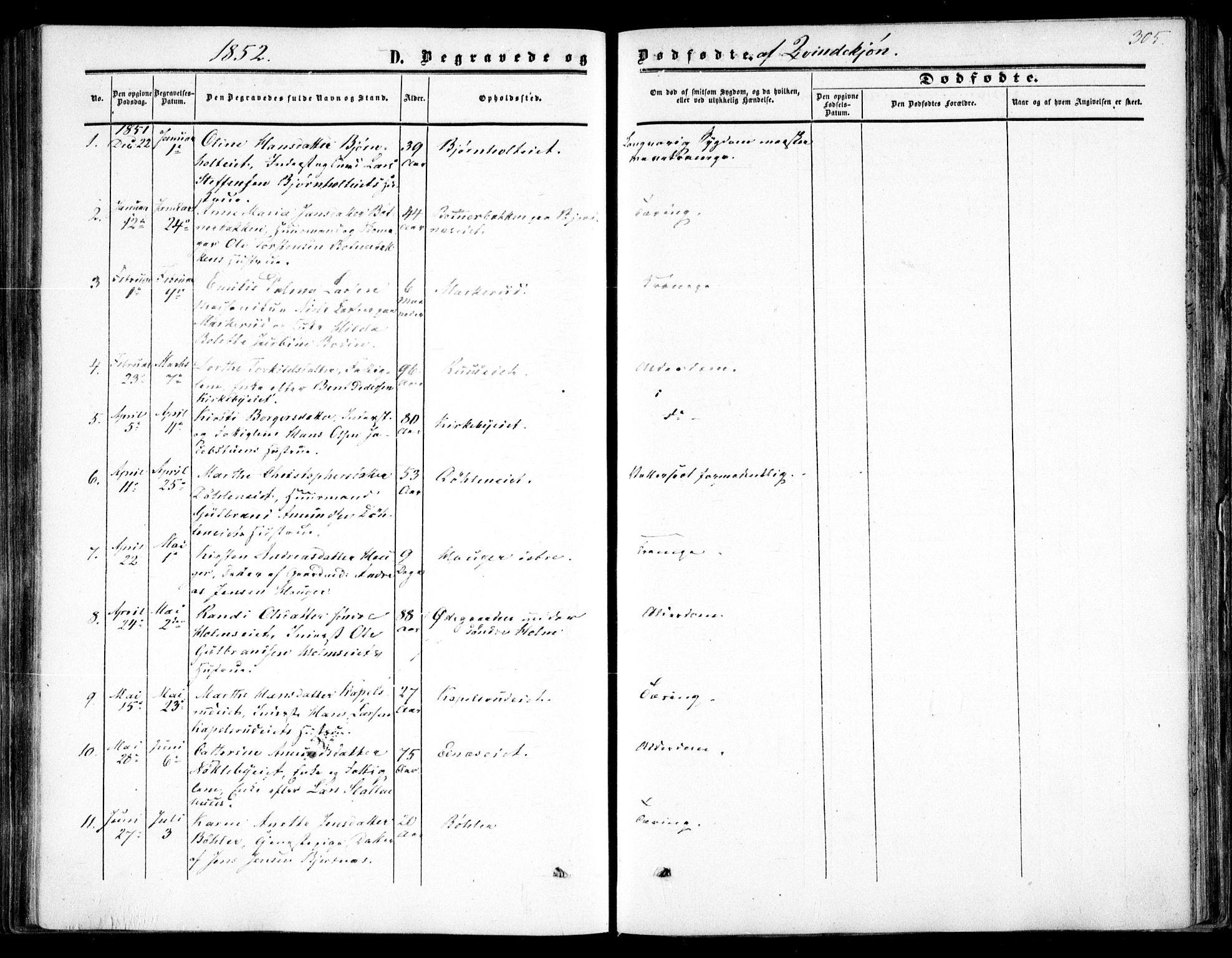SAO, Nittedal prestekontor Kirkebøker, F/Fa/L0005: Ministerialbok nr. I 5, 1850-1862, s. 305