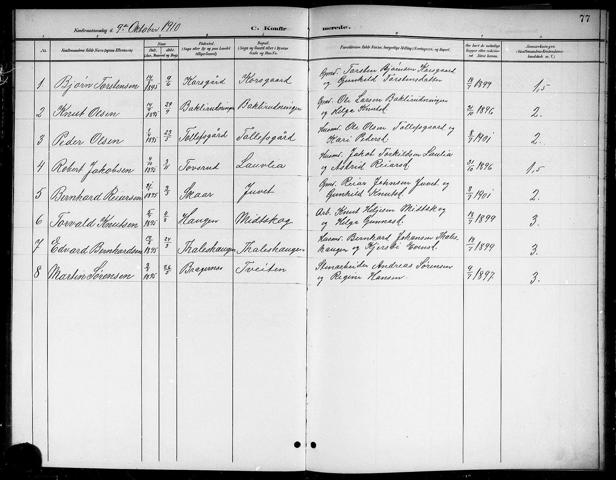 SAKO, Sigdal kirkebøker, G/Gb/L0003: Klokkerbok nr. II 3, 1901-1916, s. 77