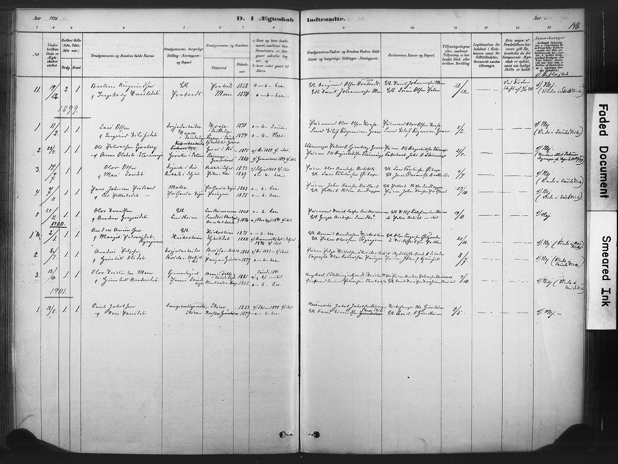 SAKO, Sauherad kirkebøker, F/Fb/L0002: Ministerialbok nr. II 2, 1878-1901, s. 146