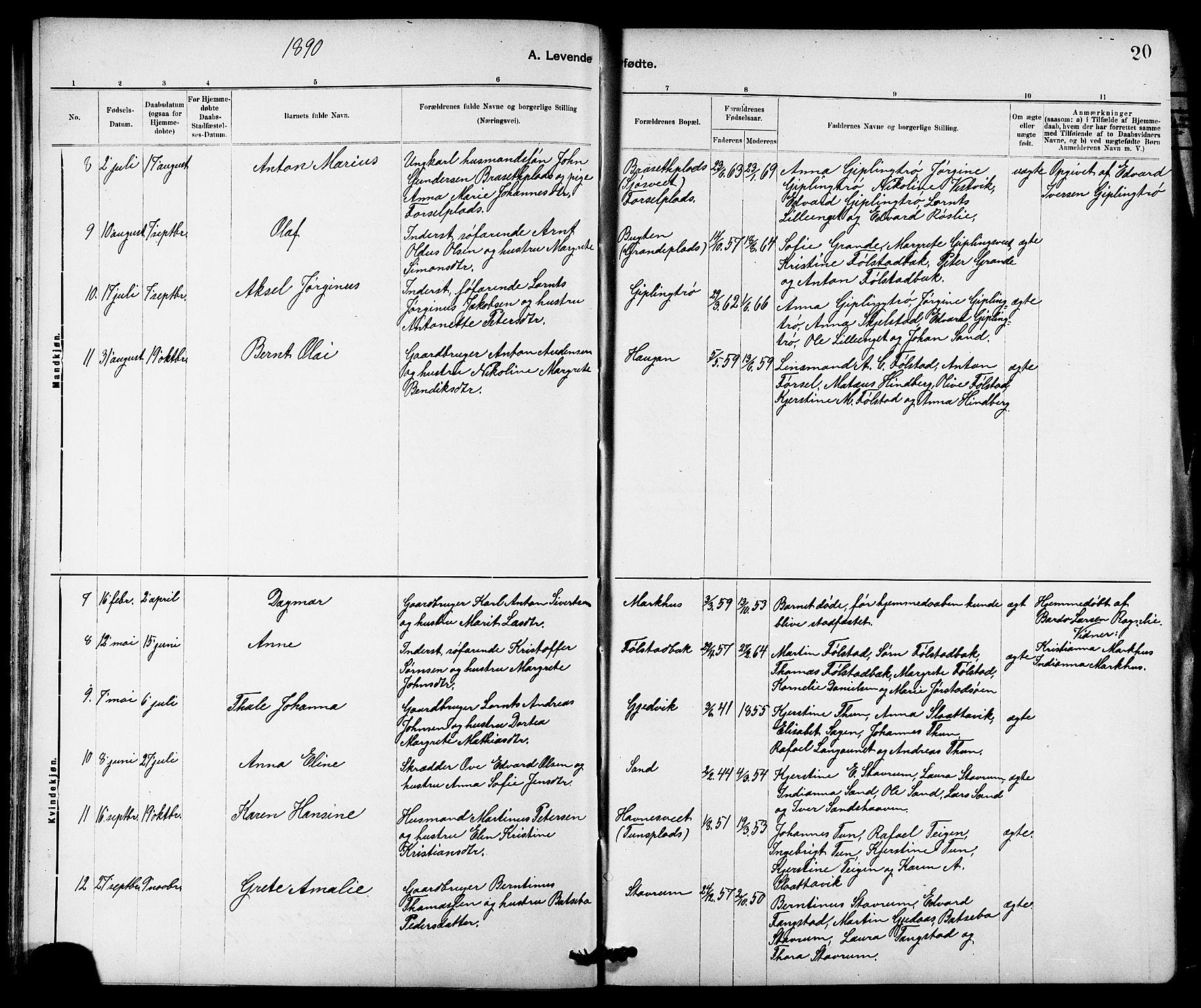SAT, Ministerialprotokoller, klokkerbøker og fødselsregistre - Nord-Trøndelag, 744/L0423: Klokkerbok nr. 744C02, 1886-1905, s. 20