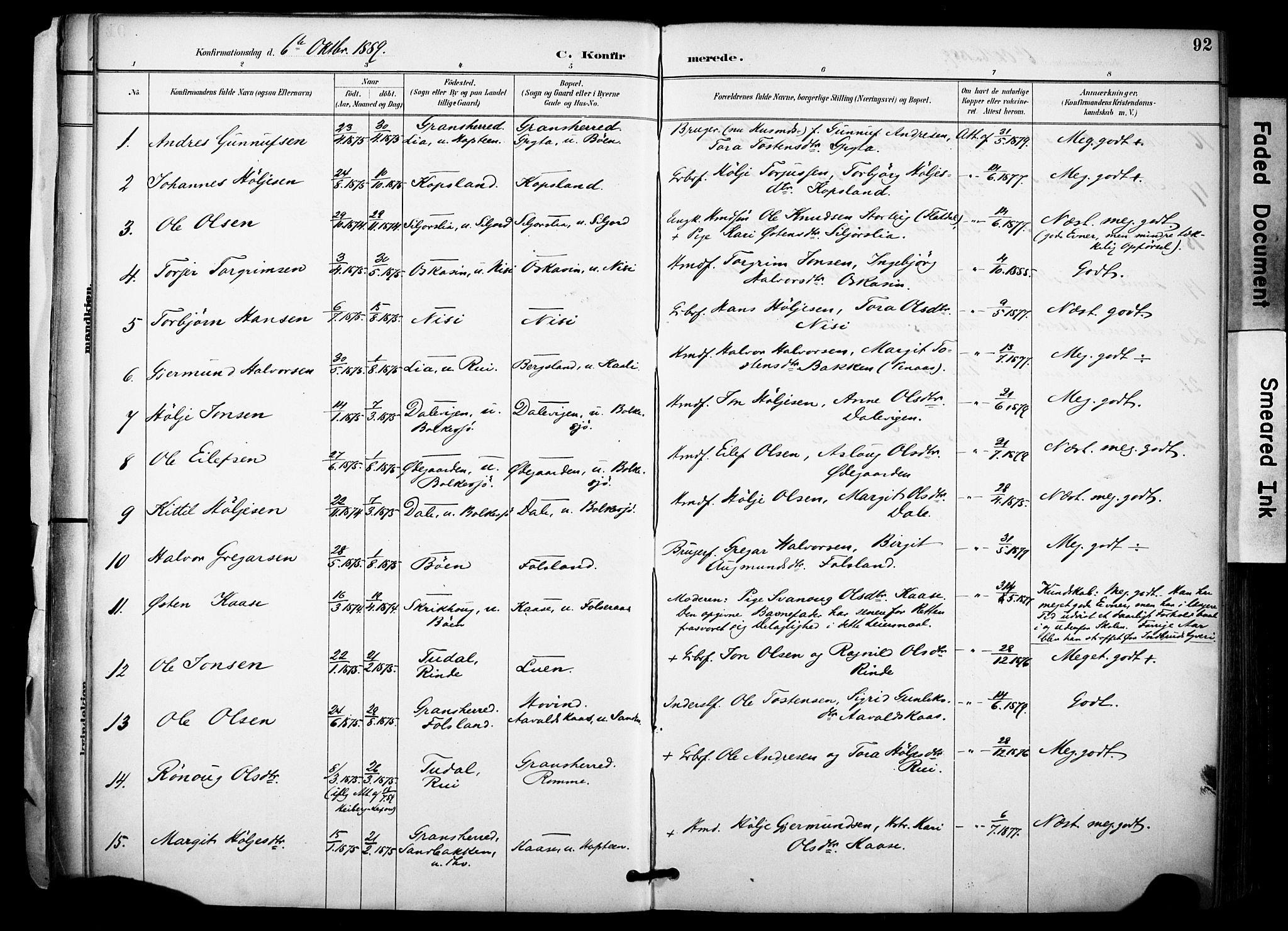 SAKO, Gransherad kirkebøker, F/Fa/L0005: Ministerialbok nr. I 5, 1887-1916, s. 92