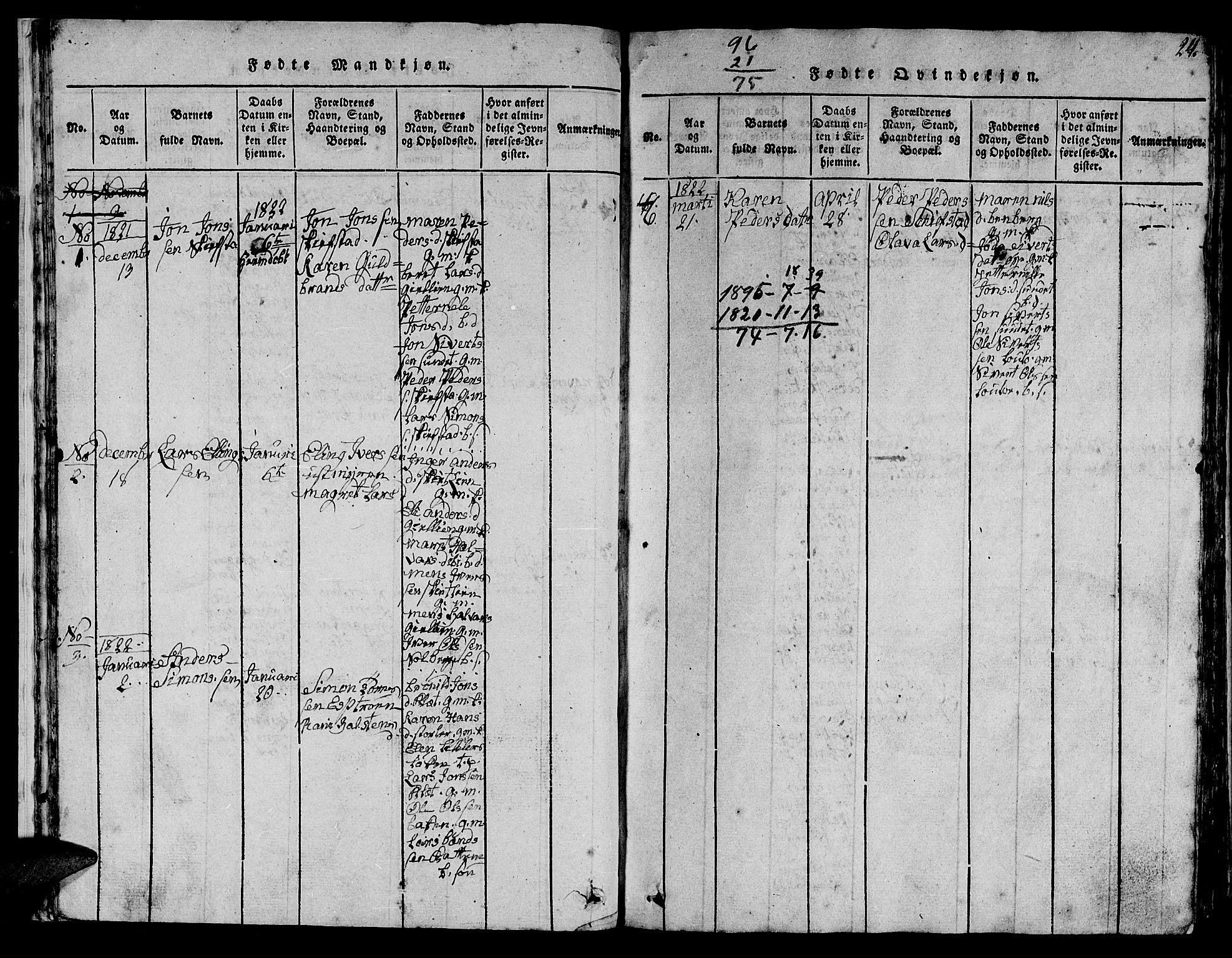 SAT, Ministerialprotokoller, klokkerbøker og fødselsregistre - Sør-Trøndelag, 613/L0393: Klokkerbok nr. 613C01, 1816-1886, s. 24
