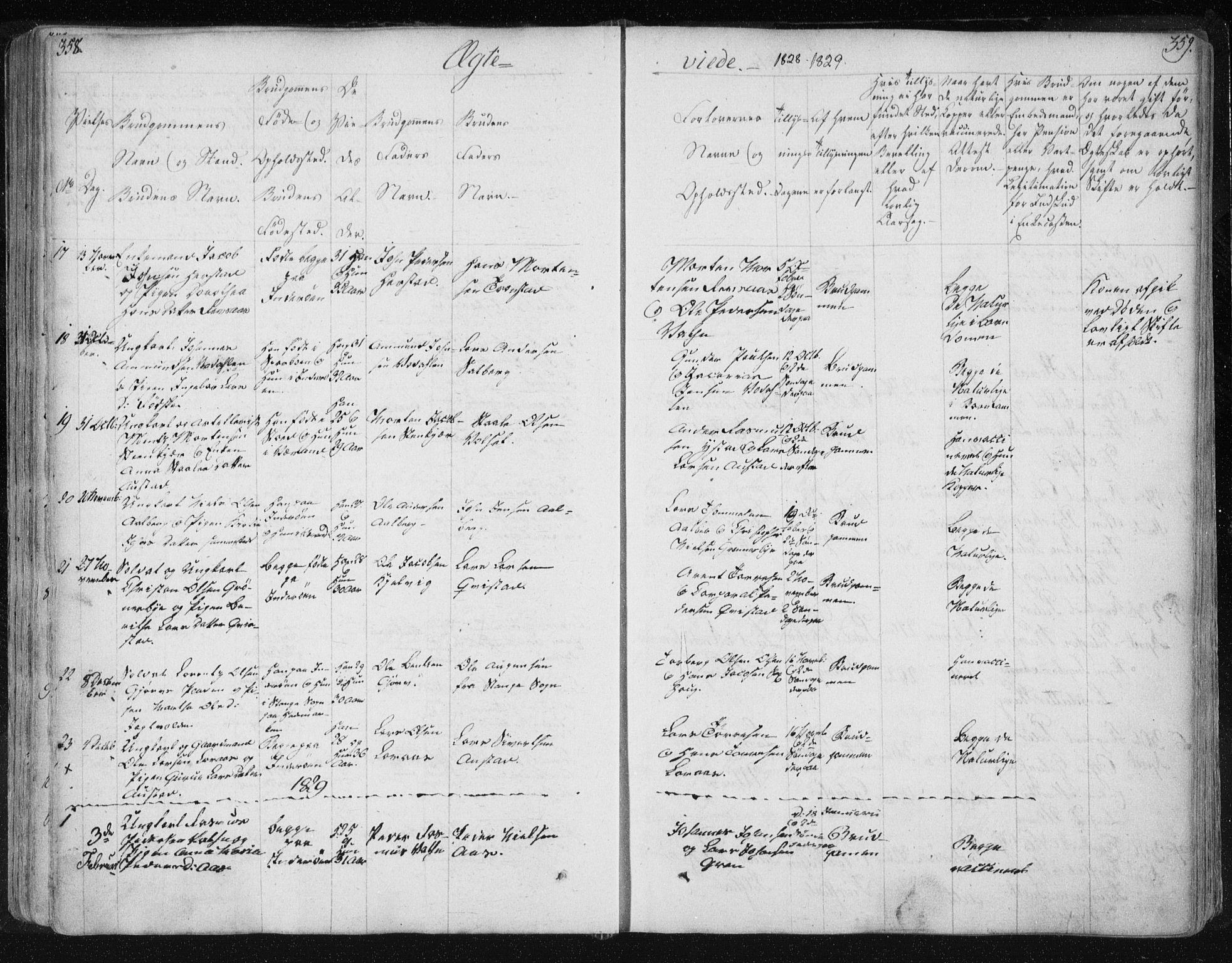 SAT, Ministerialprotokoller, klokkerbøker og fødselsregistre - Nord-Trøndelag, 730/L0276: Ministerialbok nr. 730A05, 1822-1830, s. 358-359