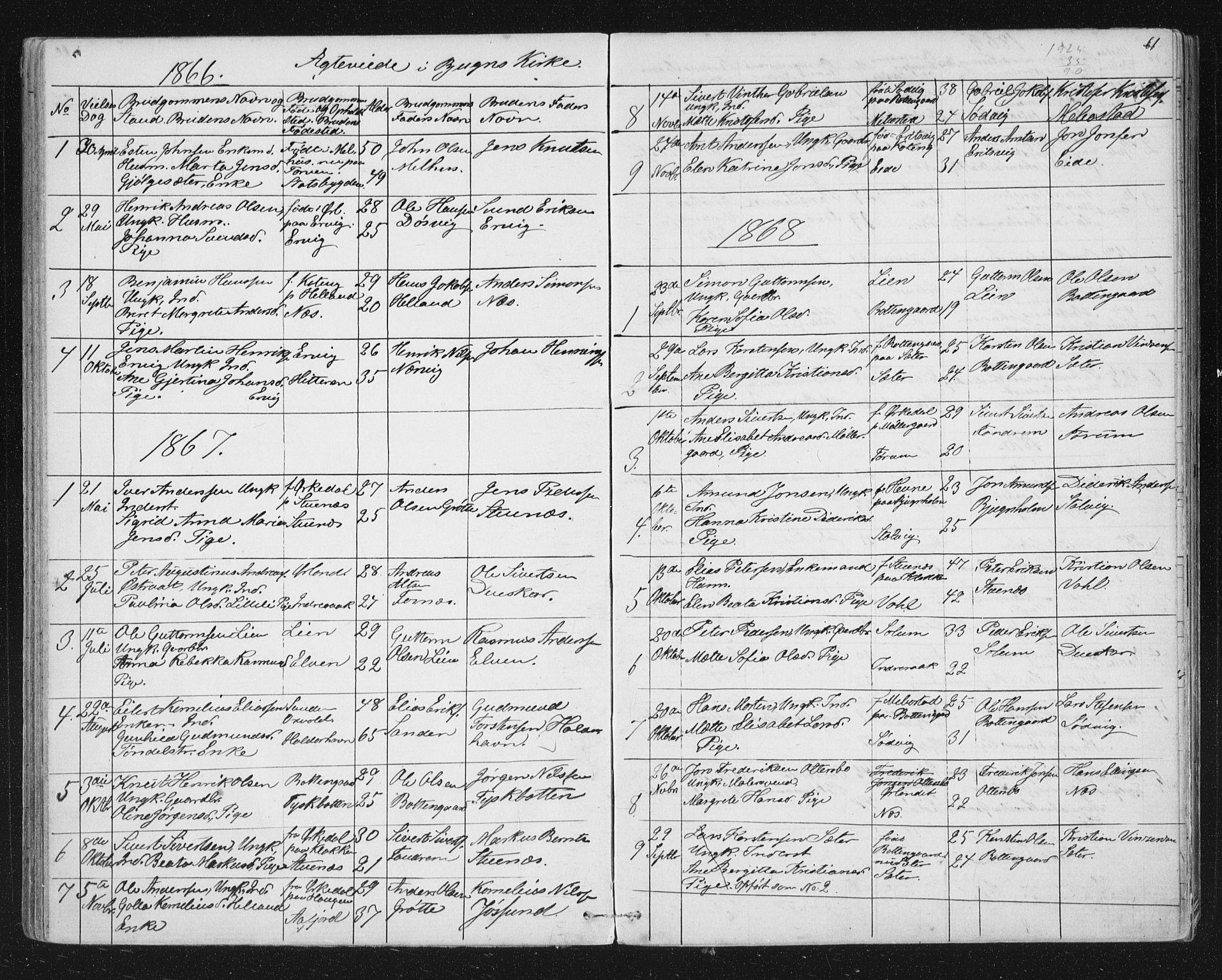SAT, Ministerialprotokoller, klokkerbøker og fødselsregistre - Sør-Trøndelag, 651/L0647: Klokkerbok nr. 651C01, 1866-1914, s. 61