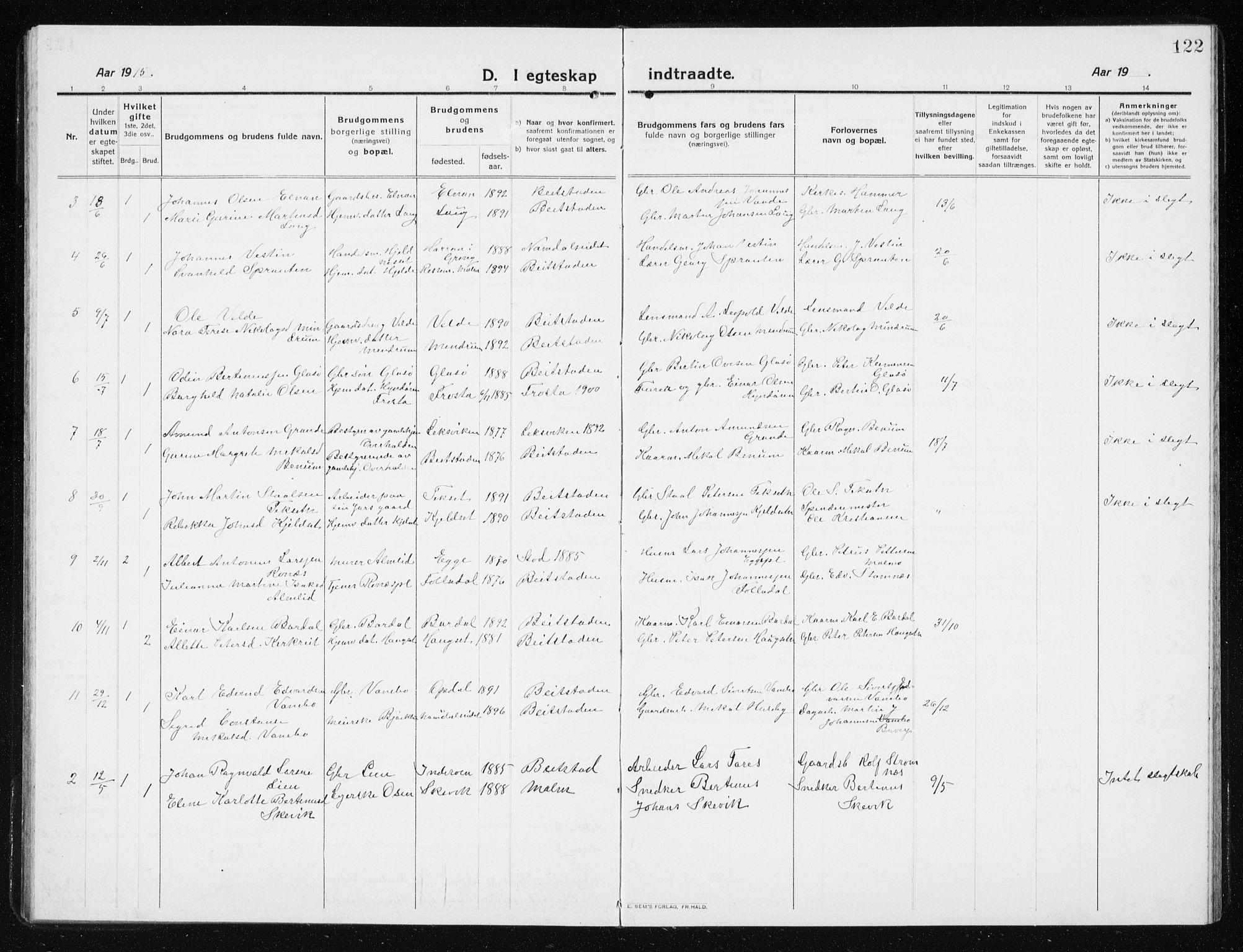 SAT, Ministerialprotokoller, klokkerbøker og fødselsregistre - Nord-Trøndelag, 741/L0402: Klokkerbok nr. 741C03, 1911-1926, s. 122