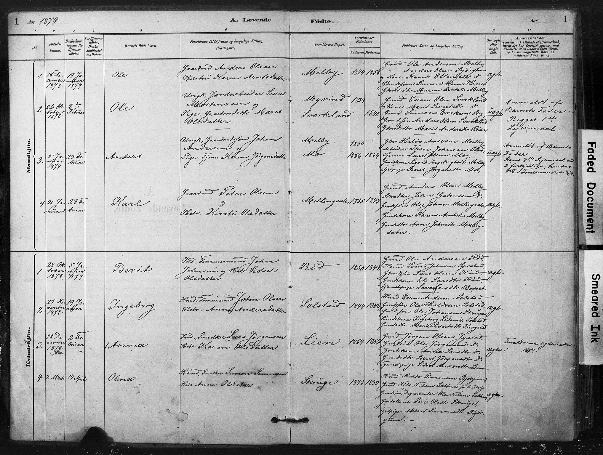 SAT, Ministerialprotokoller, klokkerbøker og fødselsregistre - Sør-Trøndelag, 667/L0795: Ministerialbok nr. 667A03, 1879-1907, s. 1
