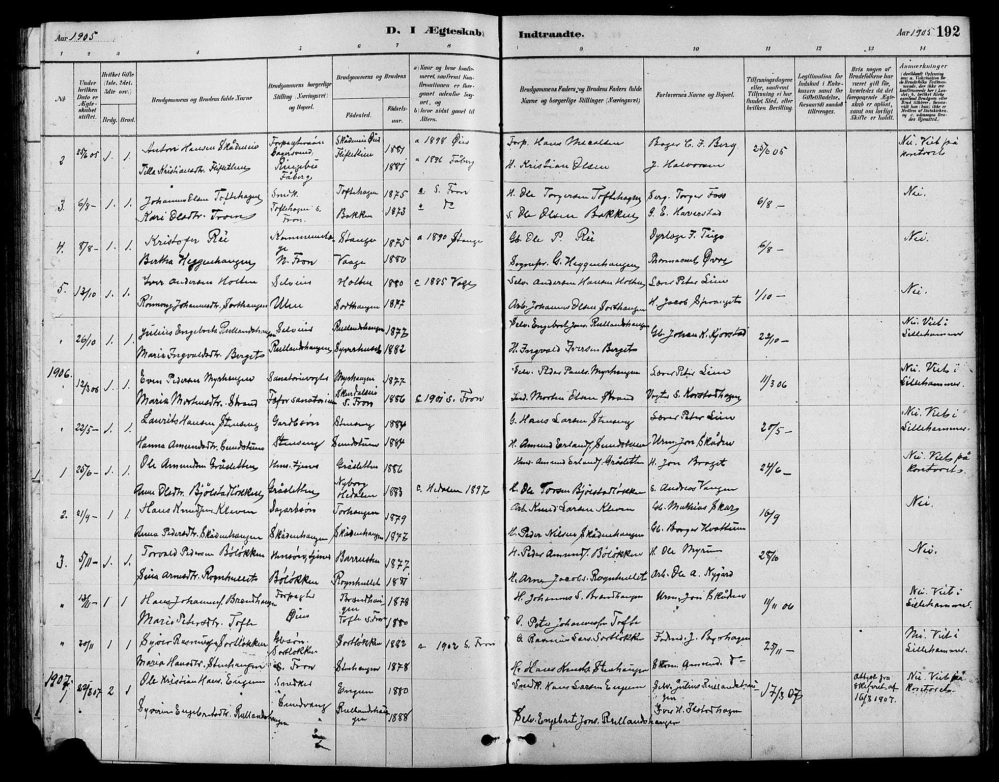 SAH, Nord-Fron prestekontor, Klokkerbok nr. 4, 1884-1914, s. 192