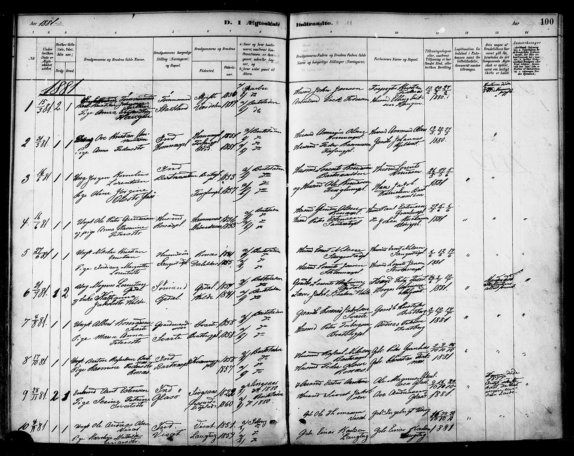 SAT, Ministerialprotokoller, klokkerbøker og fødselsregistre - Nord-Trøndelag, 741/L0395: Ministerialbok nr. 741A09, 1878-1888, s. 100
