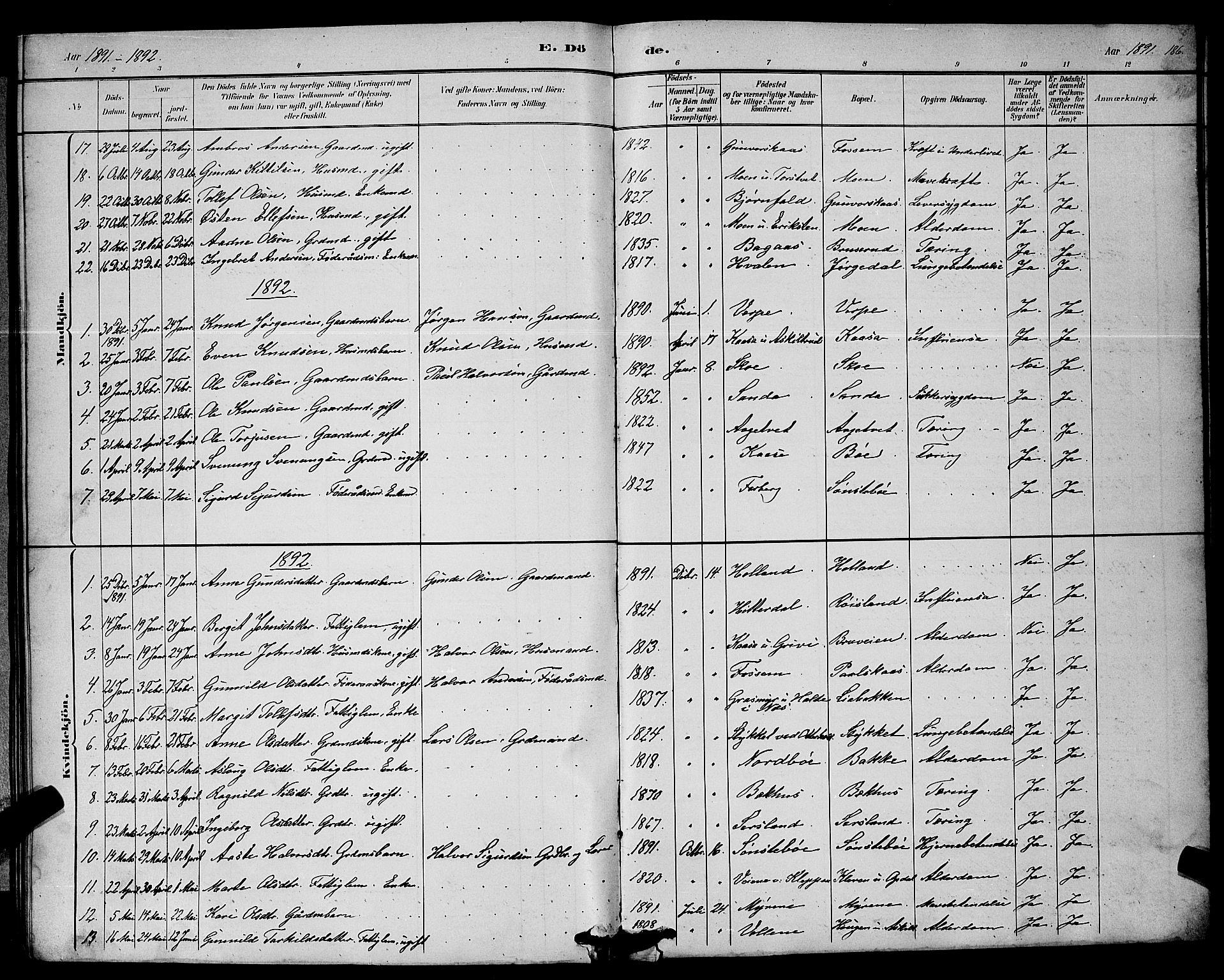 SAKO, Bø kirkebøker, G/Ga/L0005: Klokkerbok nr. 5, 1883-1897, s. 186