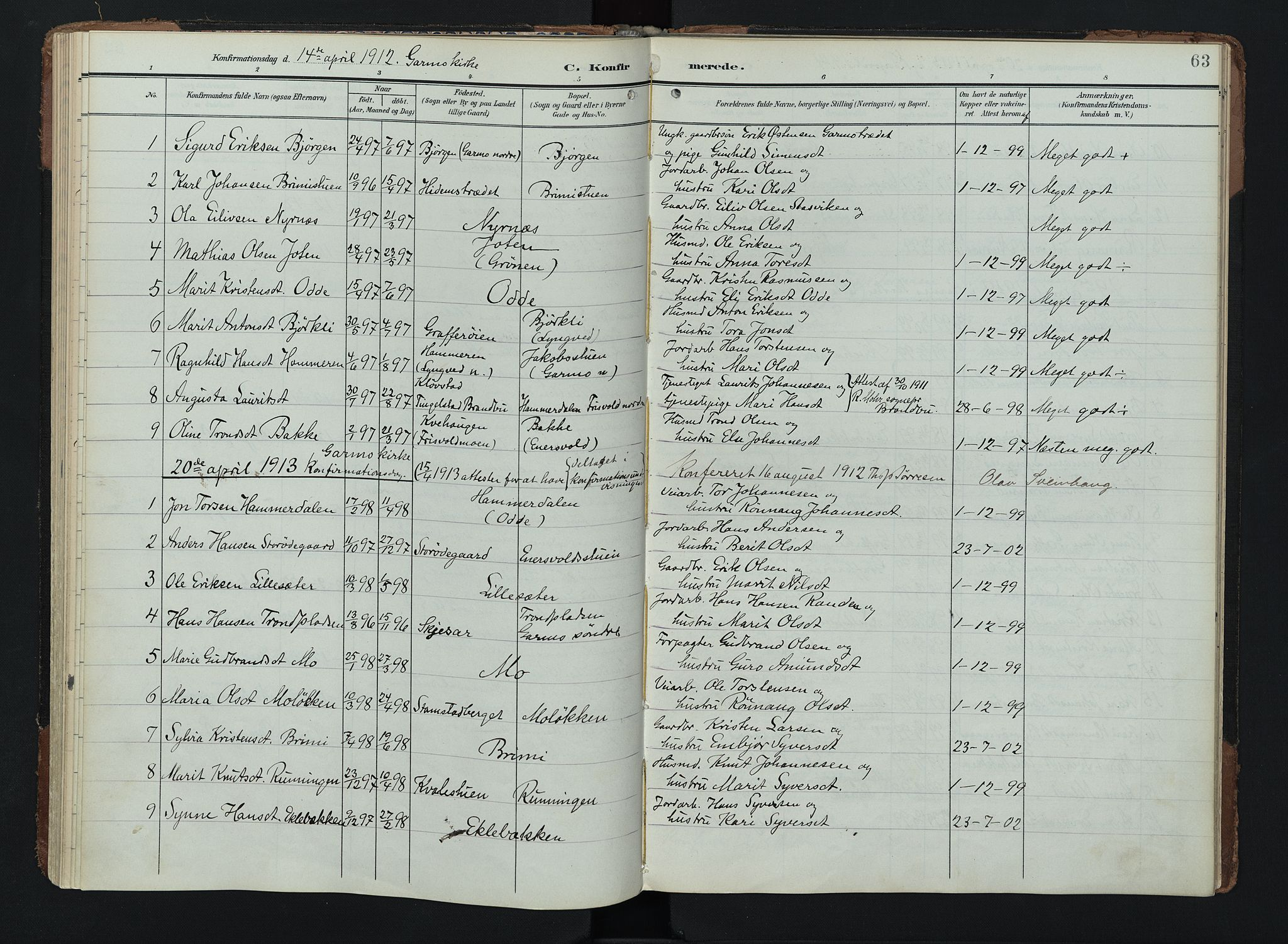 SAH, Lom prestekontor, K/L0011: Ministerialbok nr. 11, 1904-1928, s. 63