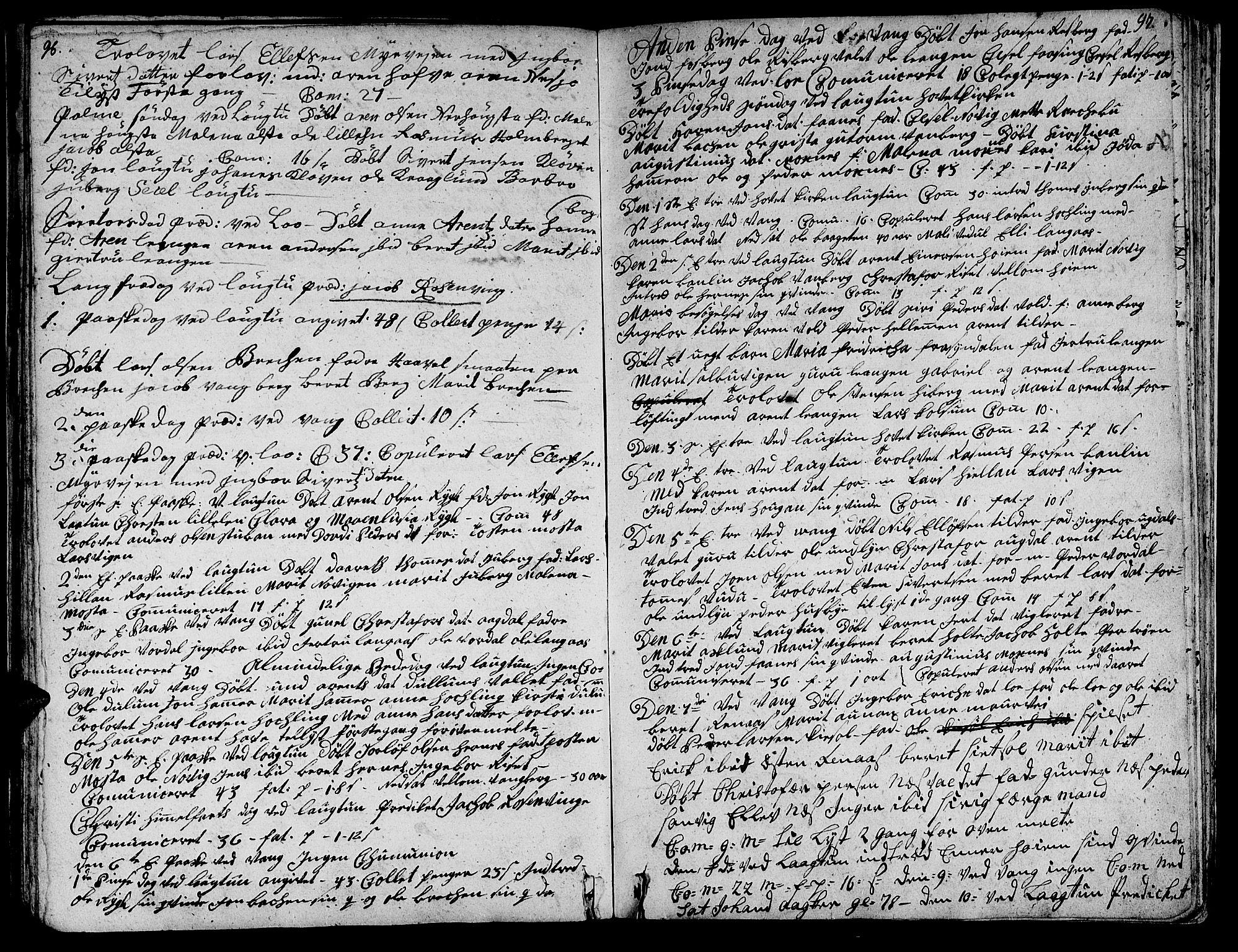 SAT, Ministerialprotokoller, klokkerbøker og fødselsregistre - Nord-Trøndelag, 713/L0109: Ministerialbok nr. 713A01, 1750-1778, s. 96-97