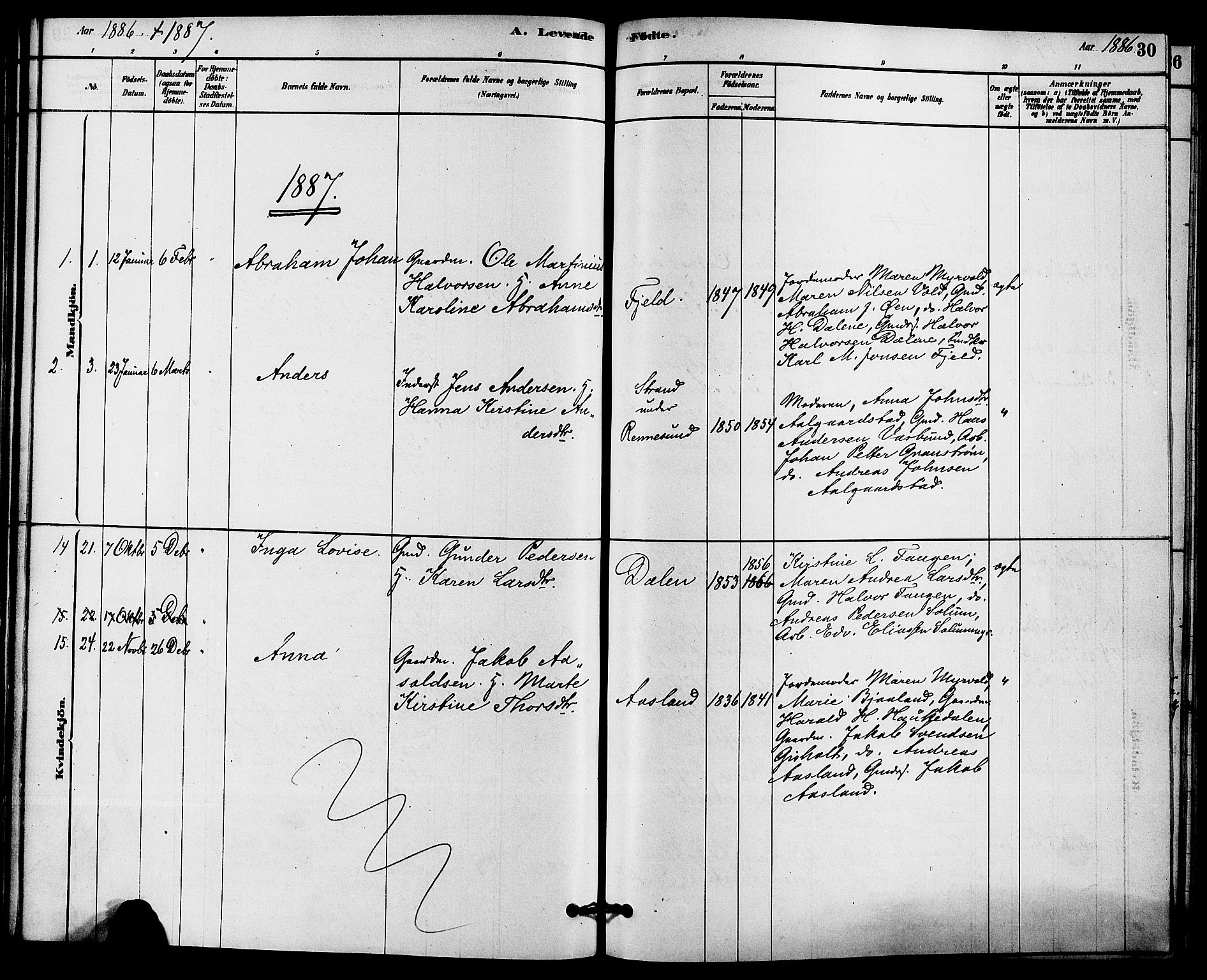 SAKO, Solum kirkebøker, F/Fc/L0001: Ministerialbok nr. III 1, 1877-1891, s. 30