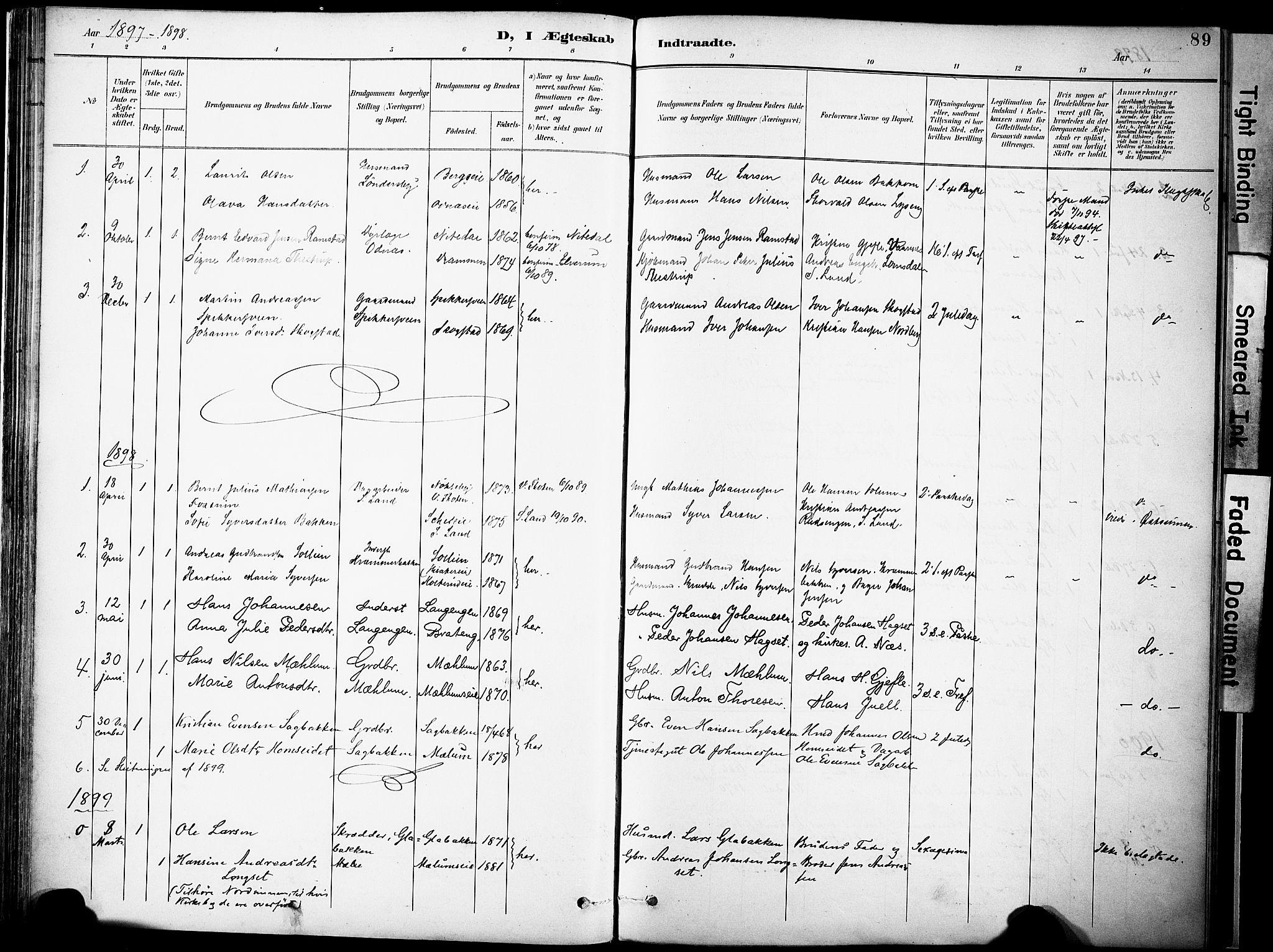 SAH, Nordre Land prestekontor, Ministerialbok nr. 6, 1897-1914, s. 89