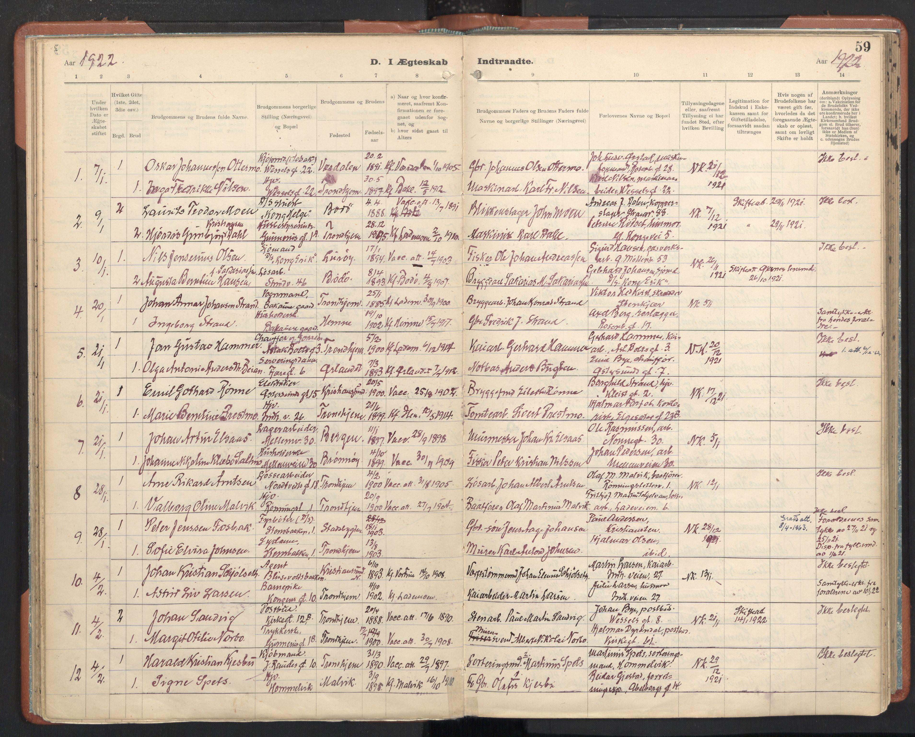 SAT, Ministerialprotokoller, klokkerbøker og fødselsregistre - Sør-Trøndelag, 605/L0245: Ministerialbok nr. 605A07, 1916-1938, s. 59