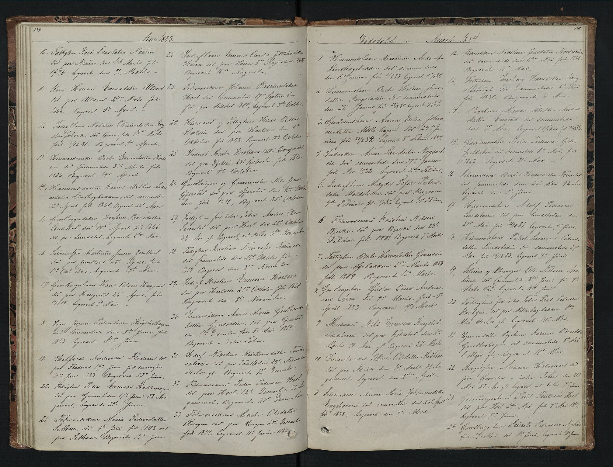 SAH, Vestre Toten prestekontor, H/Ha/Hab/L0007: Klokkerbok nr. 7, 1872-1900, s. 134-135