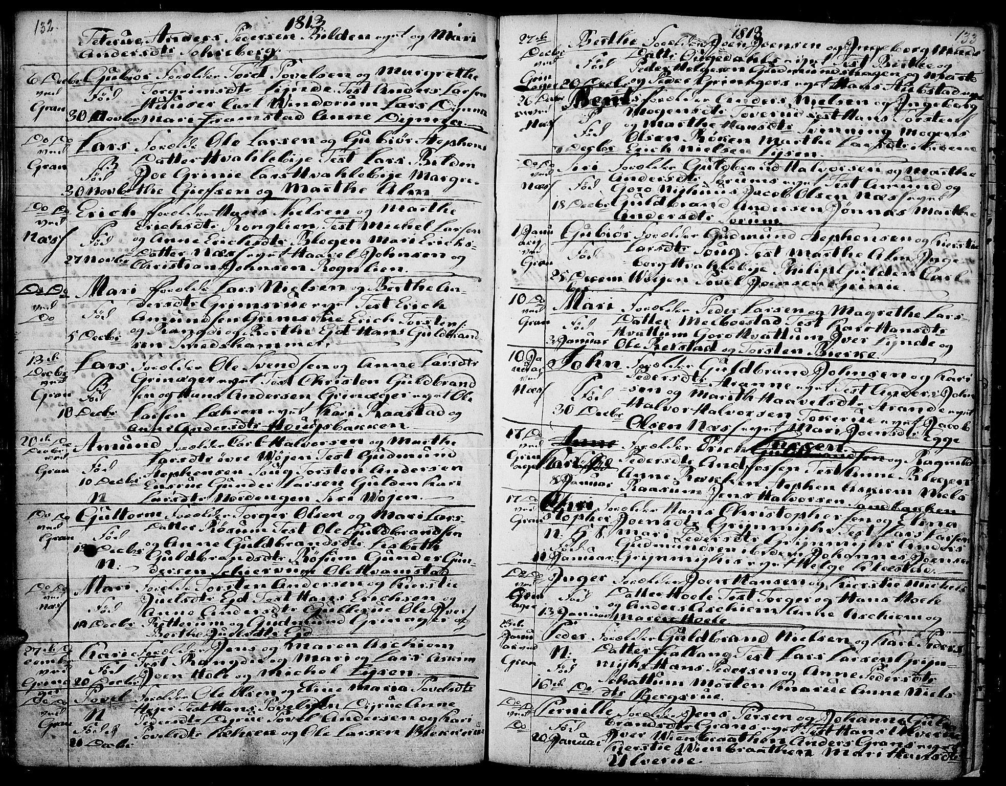 SAH, Gran prestekontor, Ministerialbok nr. 7, 1804-1815, s. 132-133