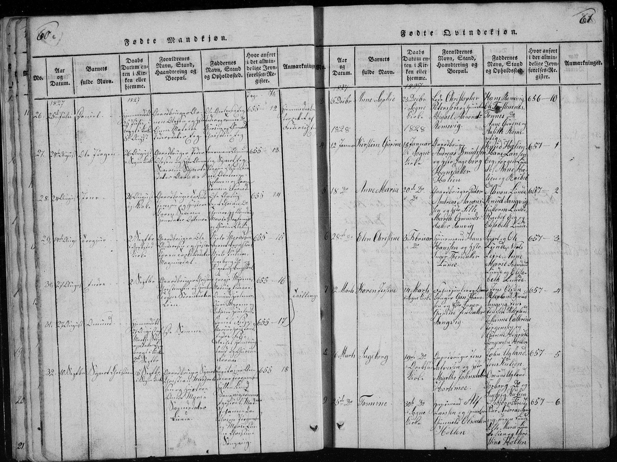 SAK, Søgne sokneprestkontor, F/Fb/Fbb/L0002: Klokkerbok nr. B 2, 1821-1838, s. 60-61