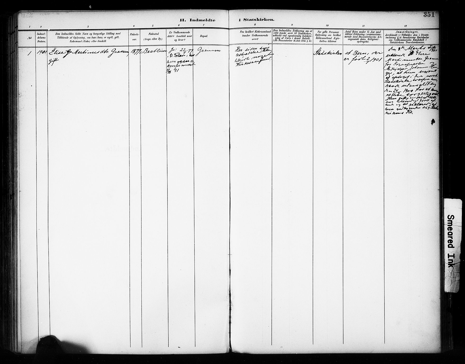 SAH, Vestre Toten prestekontor, H/Ha/Haa/L0011: Ministerialbok nr. 11, 1895-1906, s. 351