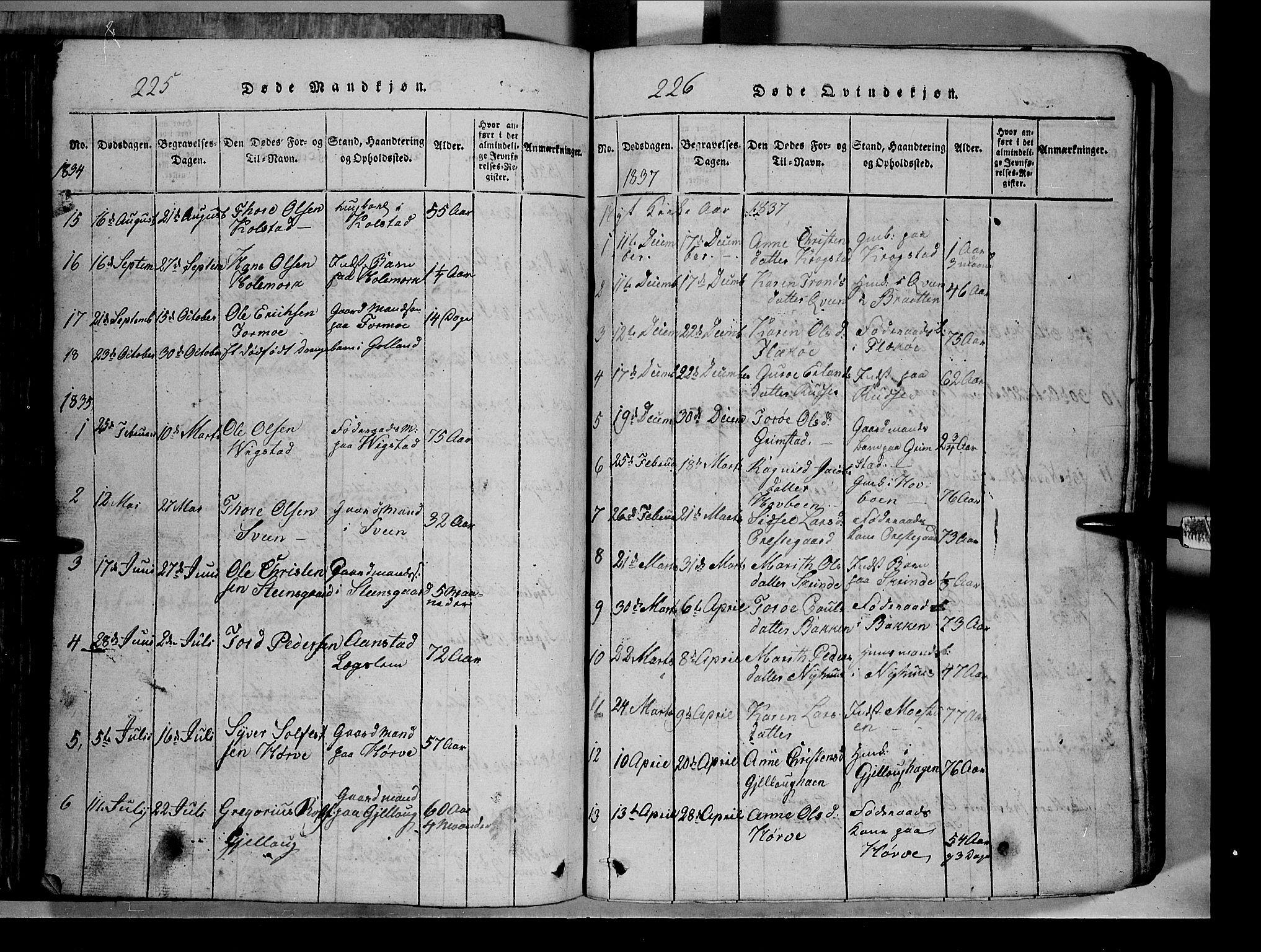 SAH, Lom prestekontor, L/L0003: Klokkerbok nr. 3, 1815-1844, s. 225-226