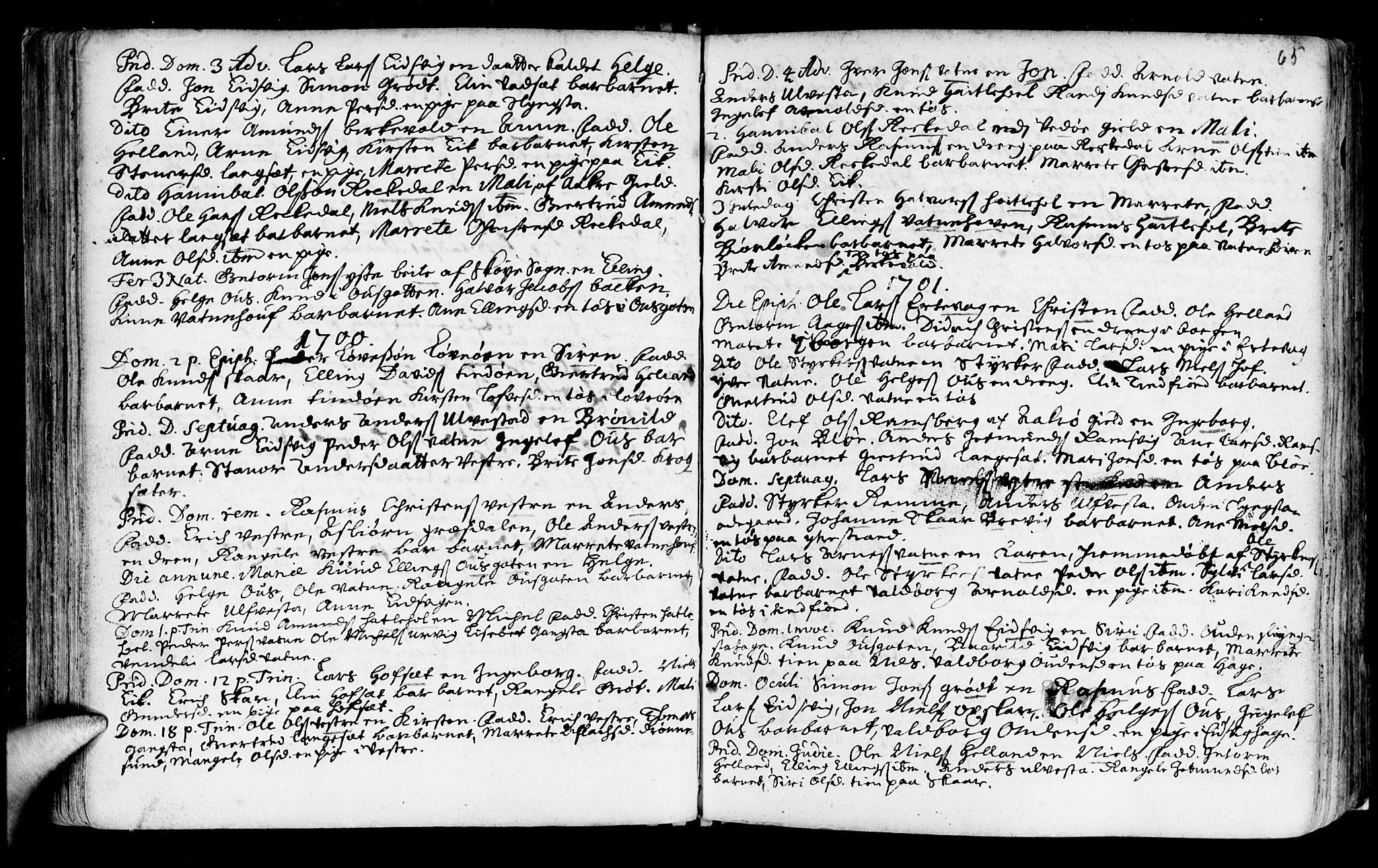 SAT, Ministerialprotokoller, klokkerbøker og fødselsregistre - Møre og Romsdal, 525/L0371: Ministerialbok nr. 525A01, 1699-1777, s. 65