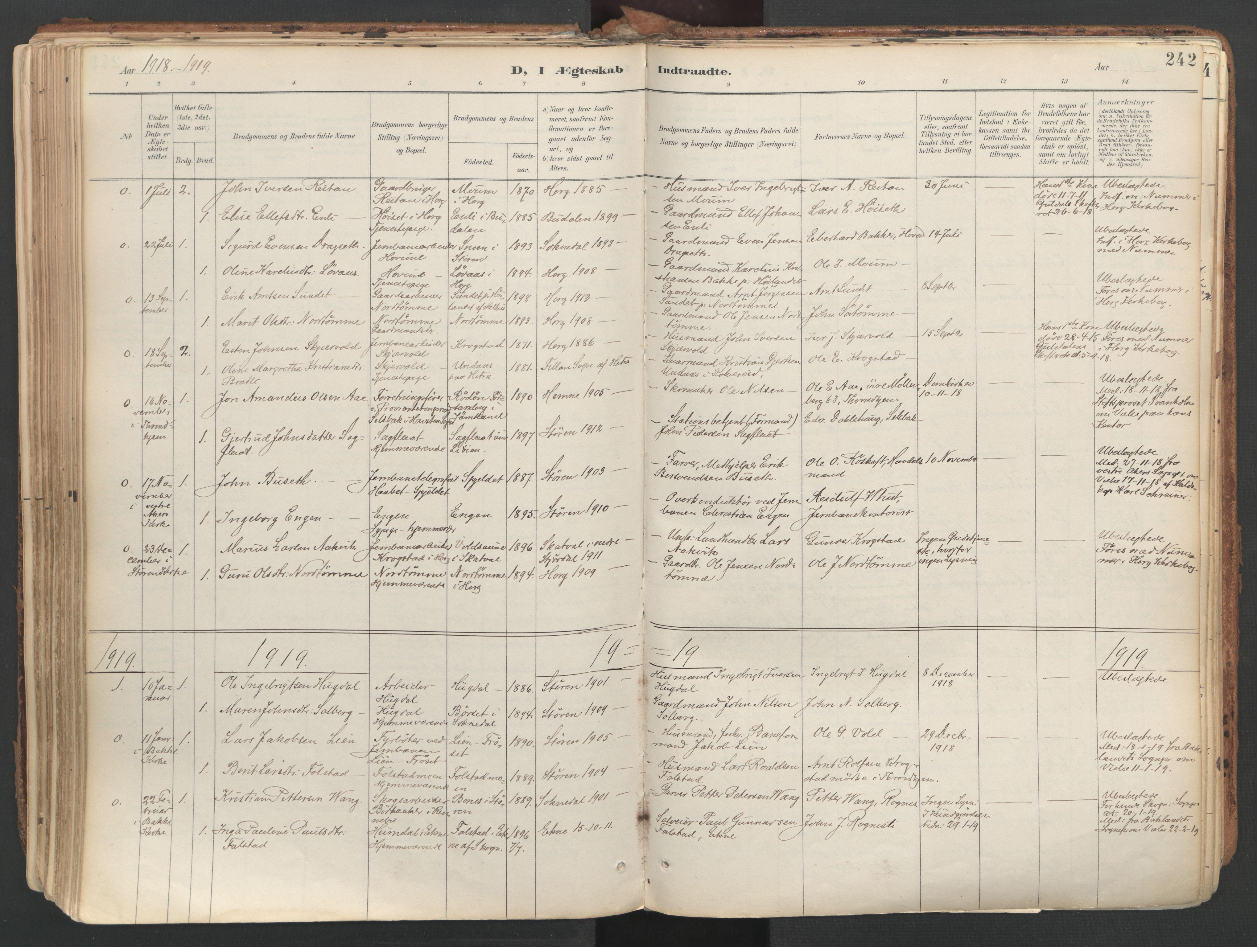 SAT, Ministerialprotokoller, klokkerbøker og fødselsregistre - Sør-Trøndelag, 687/L1004: Ministerialbok nr. 687A10, 1891-1923, s. 242