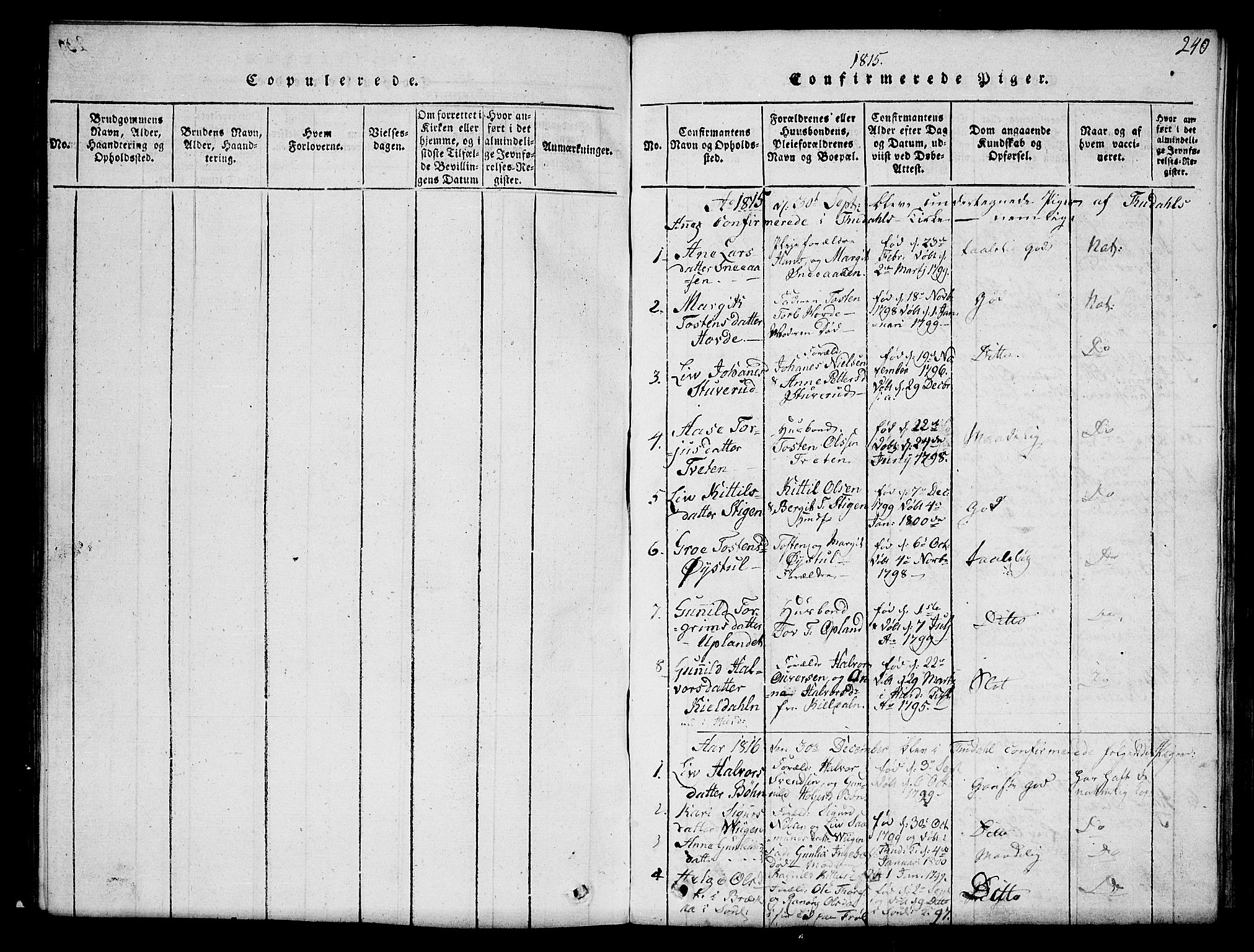 SAKO, Hjartdal kirkebøker, G/Gc/L0001: Klokkerbok nr. III 1, 1815-1842, s. 240