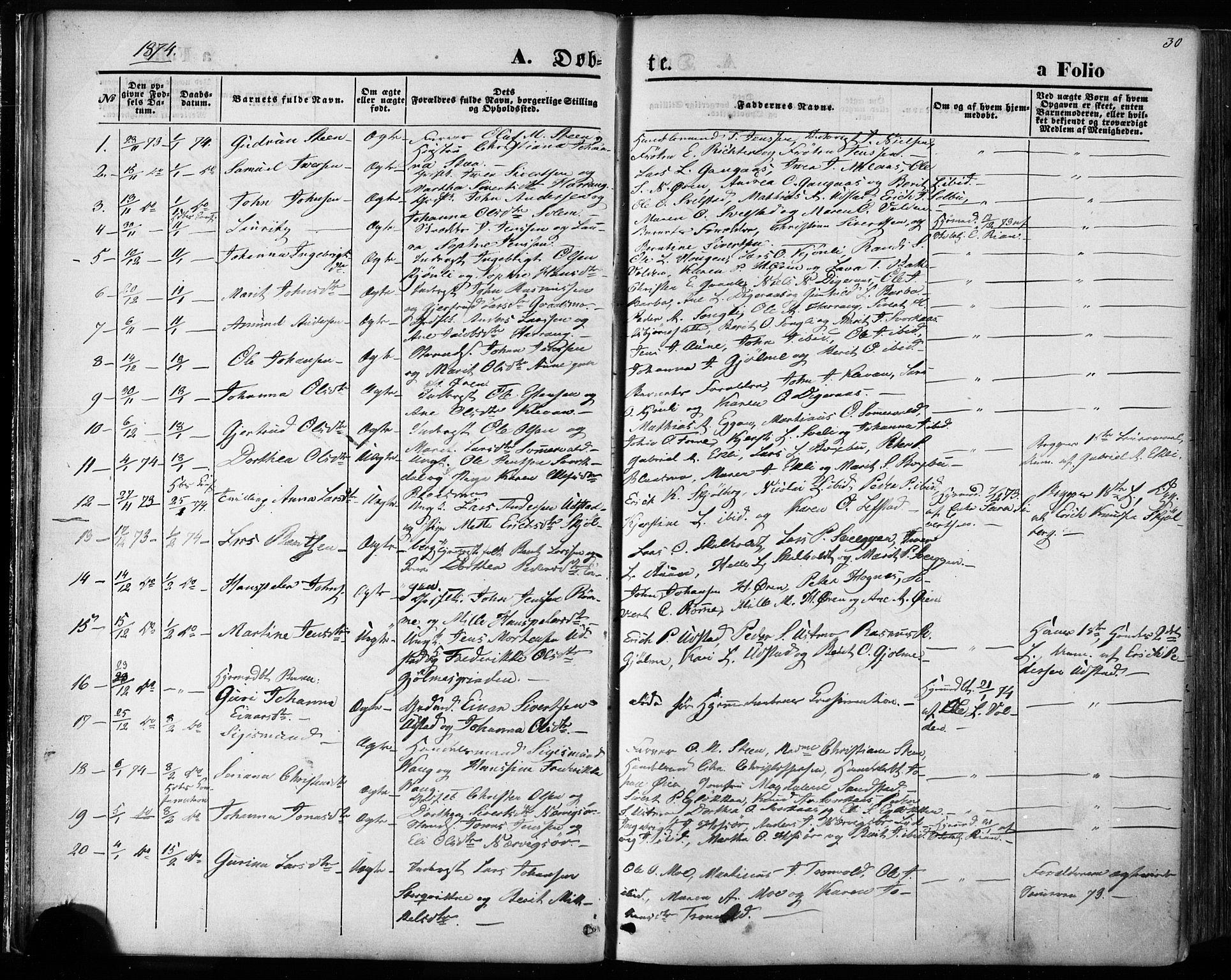 SAT, Ministerialprotokoller, klokkerbøker og fødselsregistre - Sør-Trøndelag, 668/L0807: Ministerialbok nr. 668A07, 1870-1880, s. 30