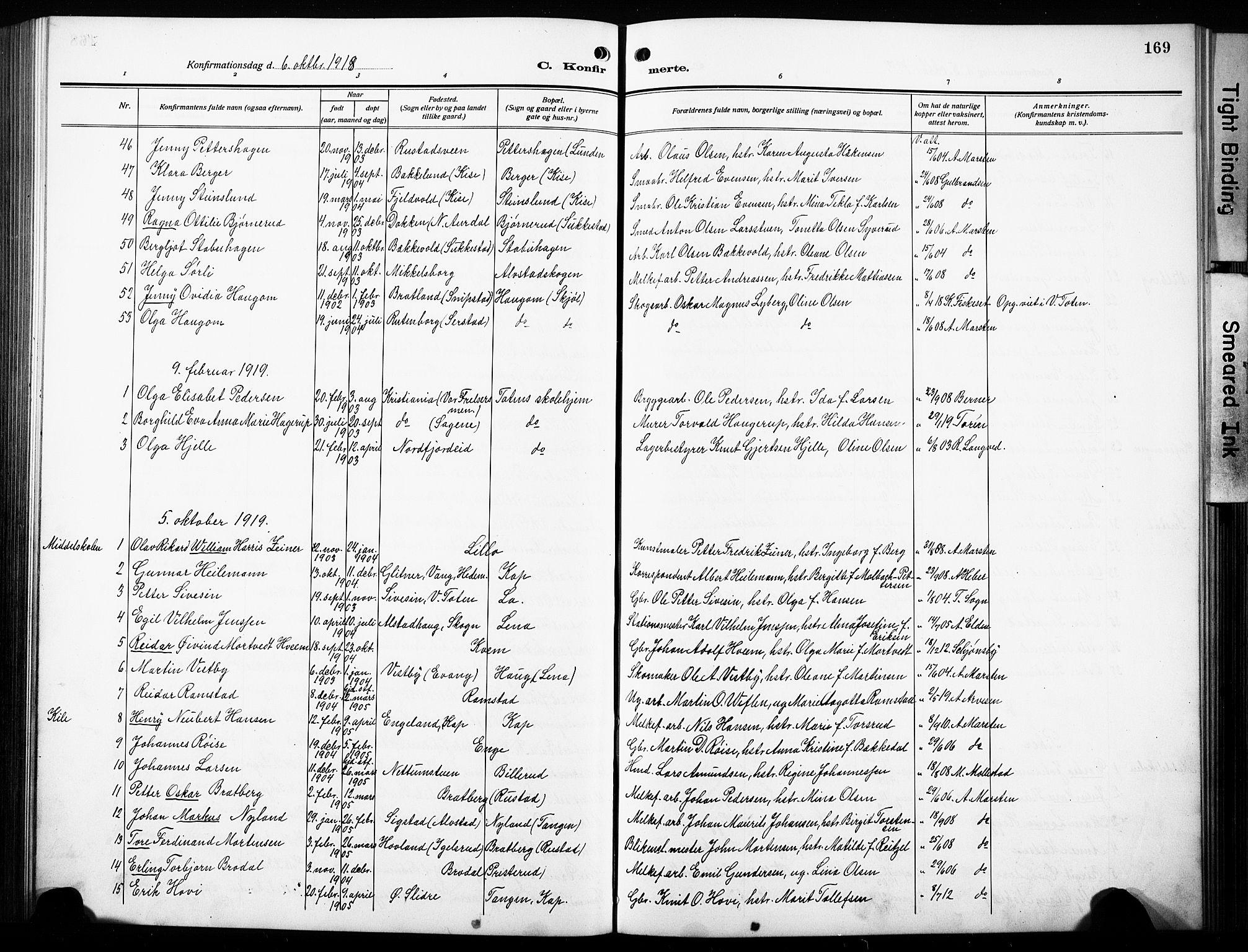 SAH, Østre Toten prestekontor, Klokkerbok nr. 10, 1912-1933, s. 169