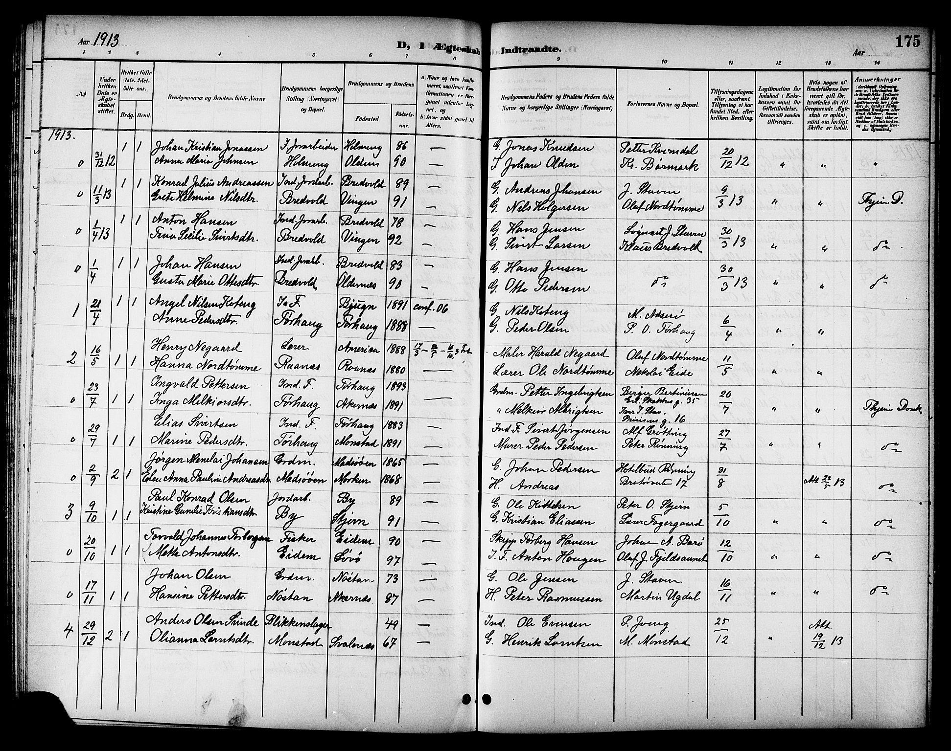 SAT, Ministerialprotokoller, klokkerbøker og fødselsregistre - Sør-Trøndelag, 655/L0688: Klokkerbok nr. 655C04, 1899-1922, s. 175