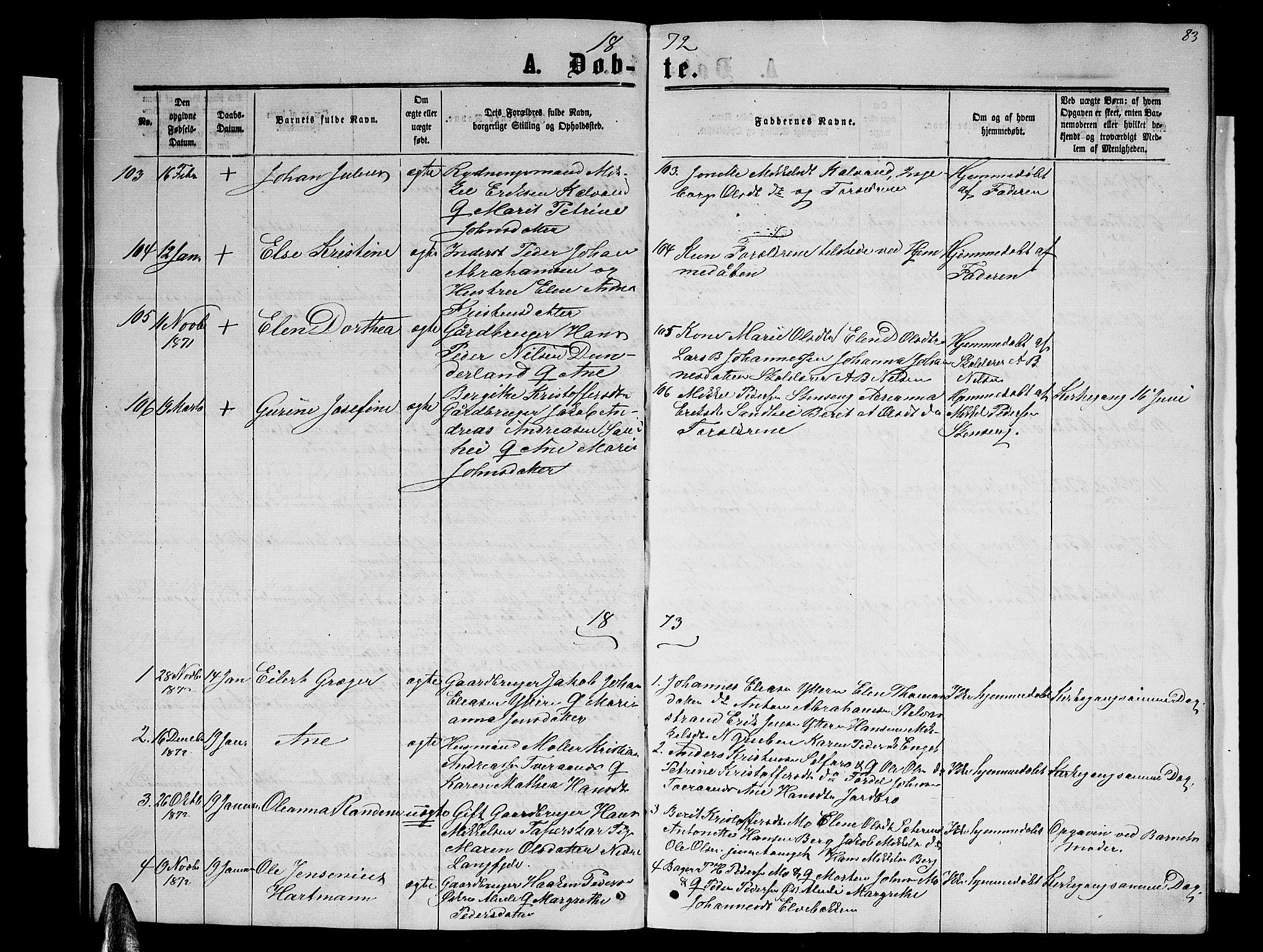 SAT, Ministerialprotokoller, klokkerbøker og fødselsregistre - Nordland, 827/L0415: Klokkerbok nr. 827C04, 1864-1886, s. 83