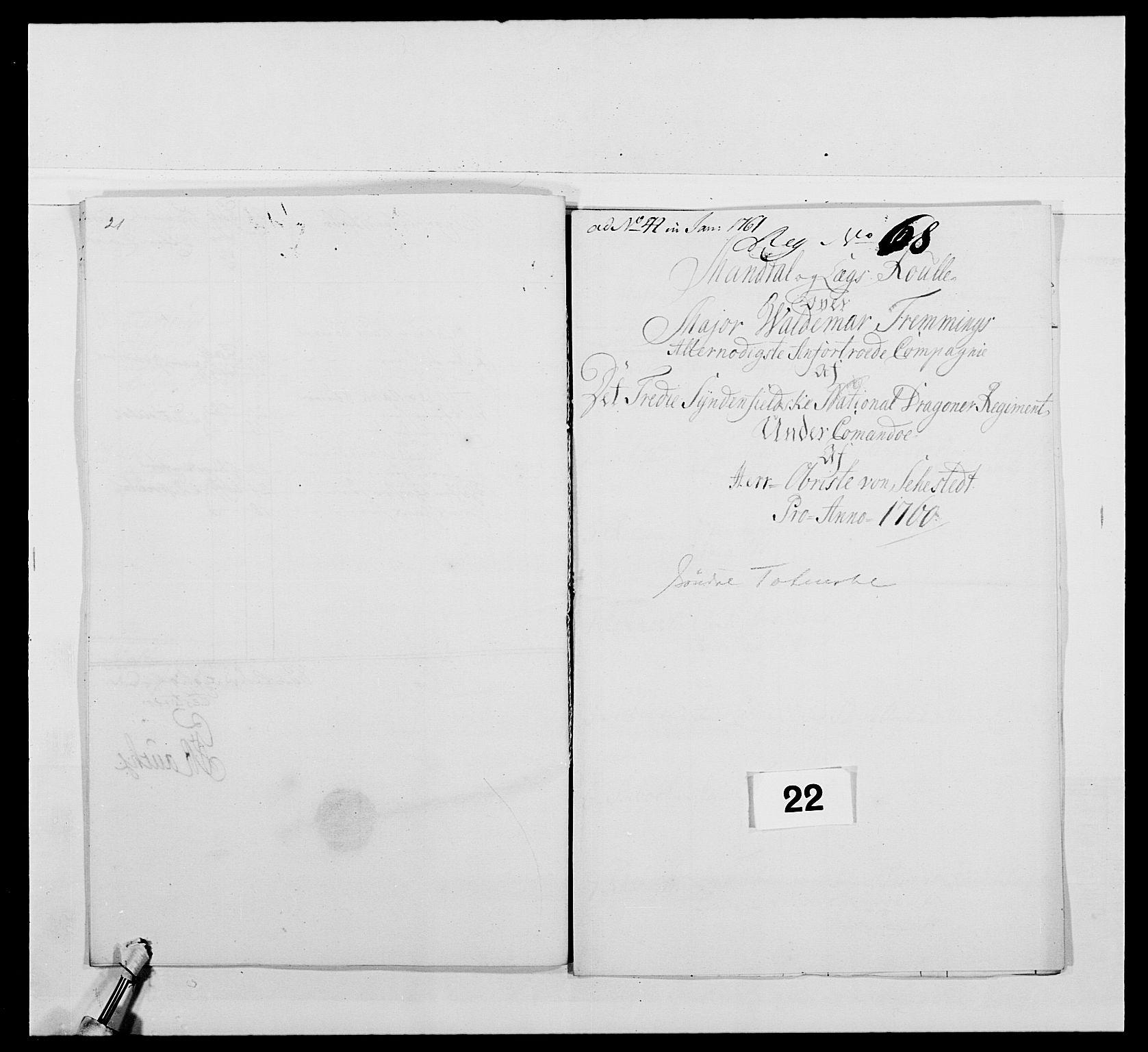 RA, Kommanderende general (KG I) med Det norske krigsdirektorium, E/Ea/L0479: 3. Sønnafjelske dragonregiment, 1756-1760, s. 412