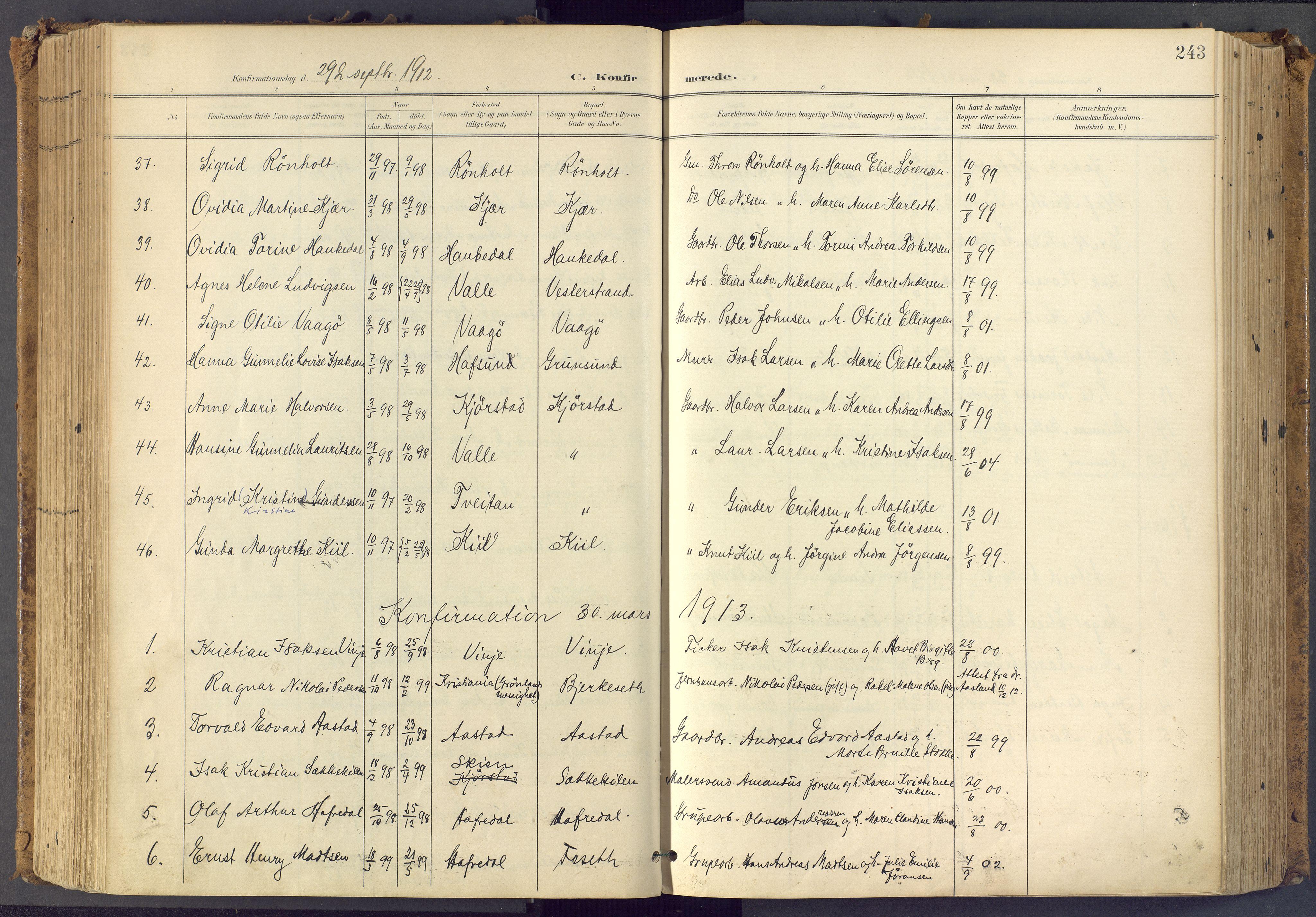 SAKO, Bamble kirkebøker, F/Fa/L0009: Ministerialbok nr. I 9, 1901-1917, s. 243