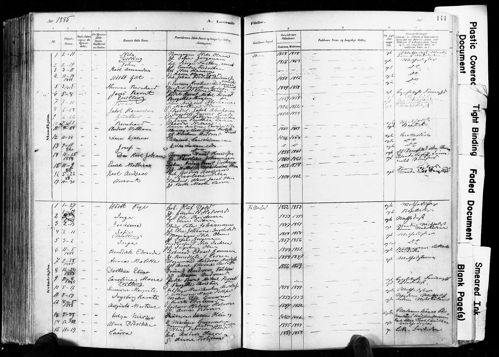 SAKO, Skien kirkebøker, F/Fa/L0009: Ministerialbok nr. 9, 1878-1890, s. 141