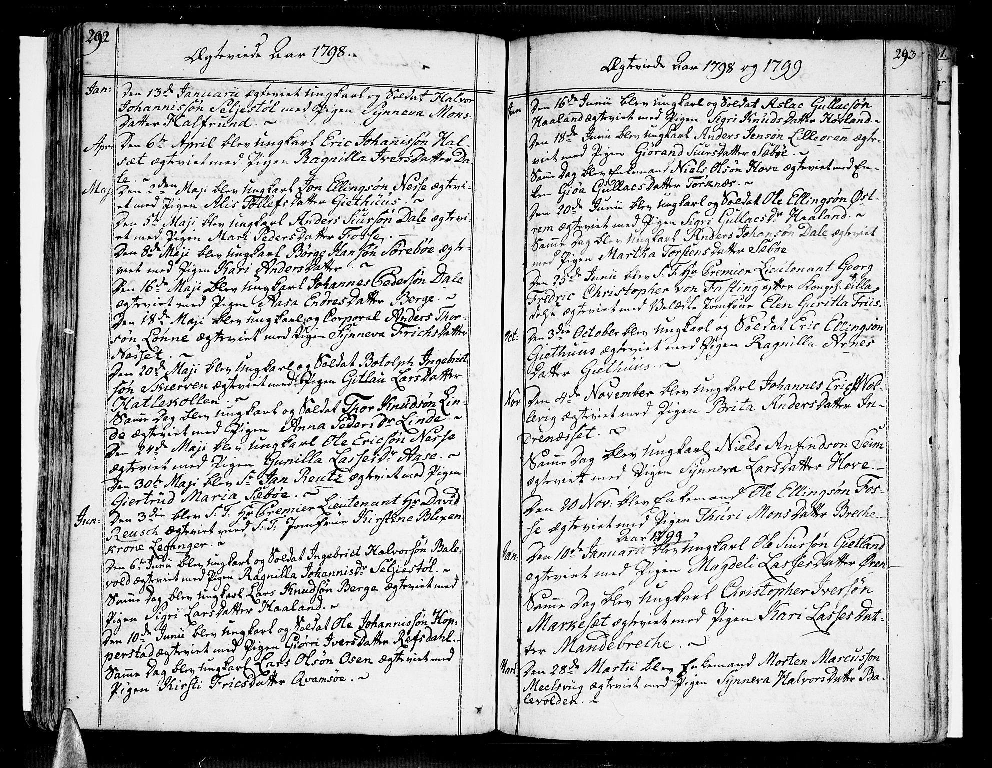 SAB, Vik Sokneprestembete, Ministerialbok nr. A 5, 1787-1820, s. 292-293
