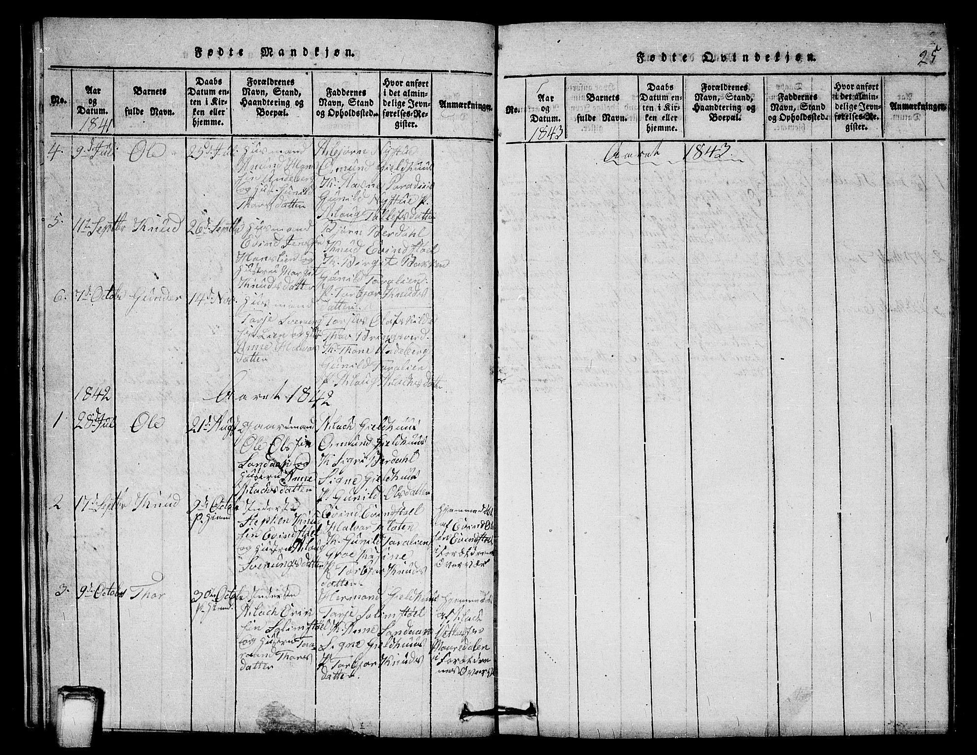 SAKO, Vinje kirkebøker, G/Gb/L0001: Klokkerbok nr. II 1, 1814-1843, s. 25